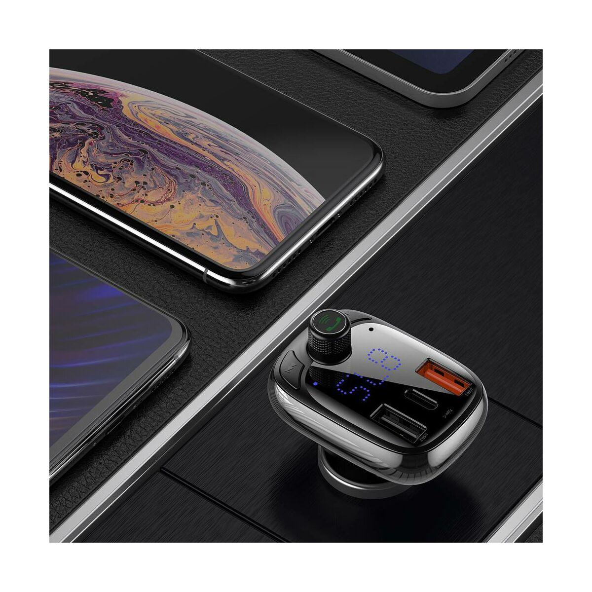 Baseus autós töltő, T-typed okos gyors töltés funkcióval, Bluetooth MP3 hallgatás, 5A, fekete (CCTM-B01)
