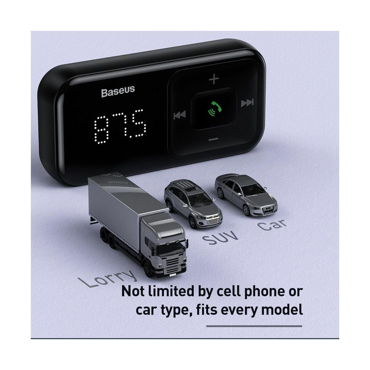 Baseus autós töltő, Bluetooth Fm Transzmitter T-Type S-16 műszerfalra szerelhető kijelzővel, 2xUSB MicroSD, fekete (CCTM-E01)