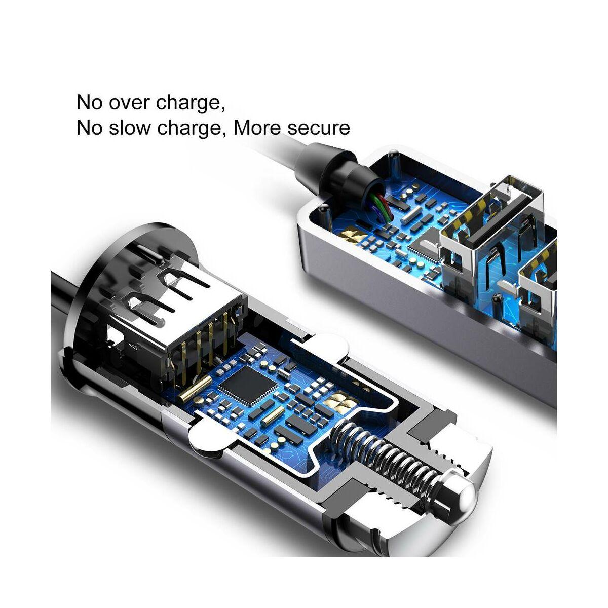 Baseus autós töltő, Enjoy Together 4 kimenet, max 5.5A, sötétszürke (CCTON-0G)