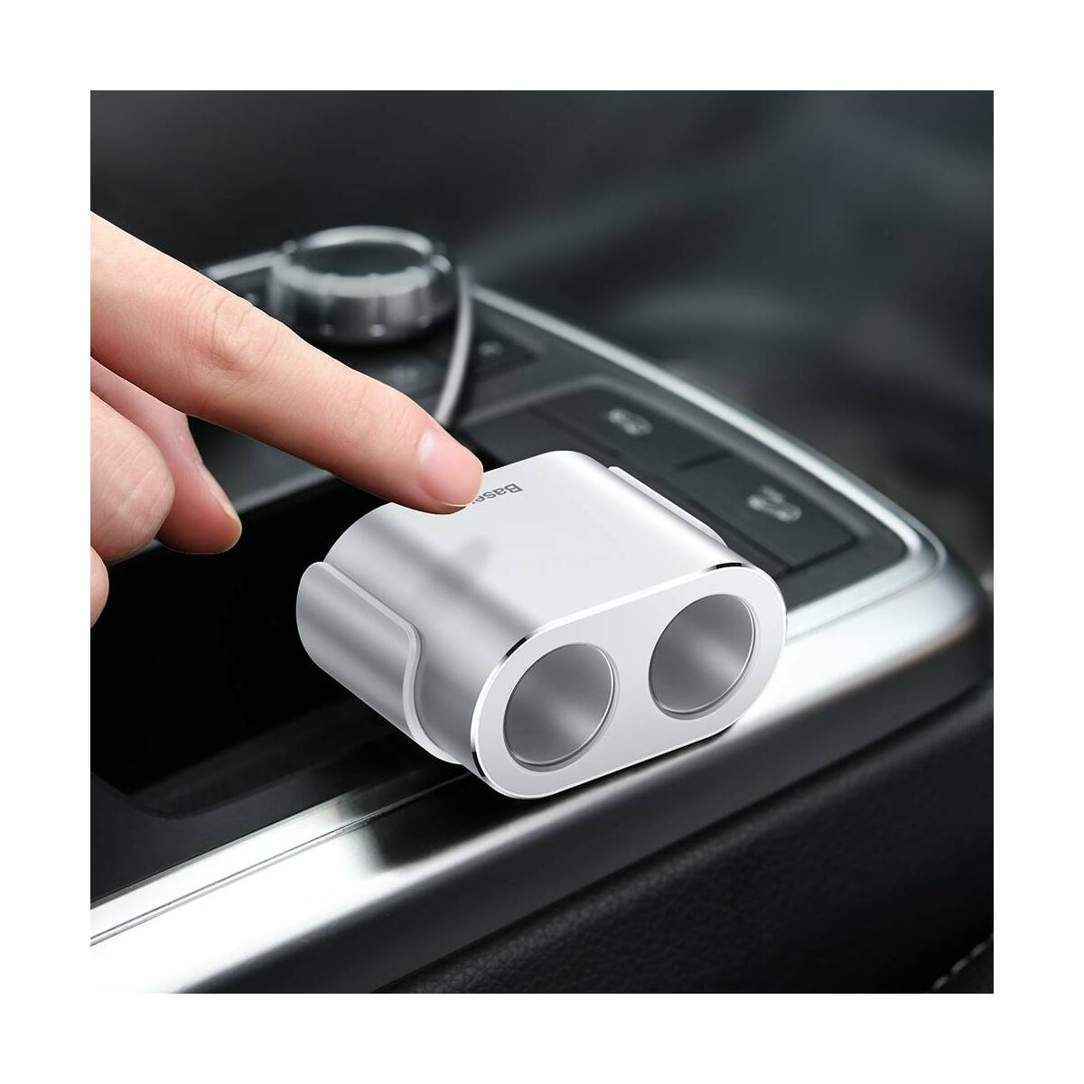 Baseus autós töltő, One to Two szivargyújtó (dual-gyújtó 80W + dual USB 3.1A), ezüst (CRDYQ-0S)