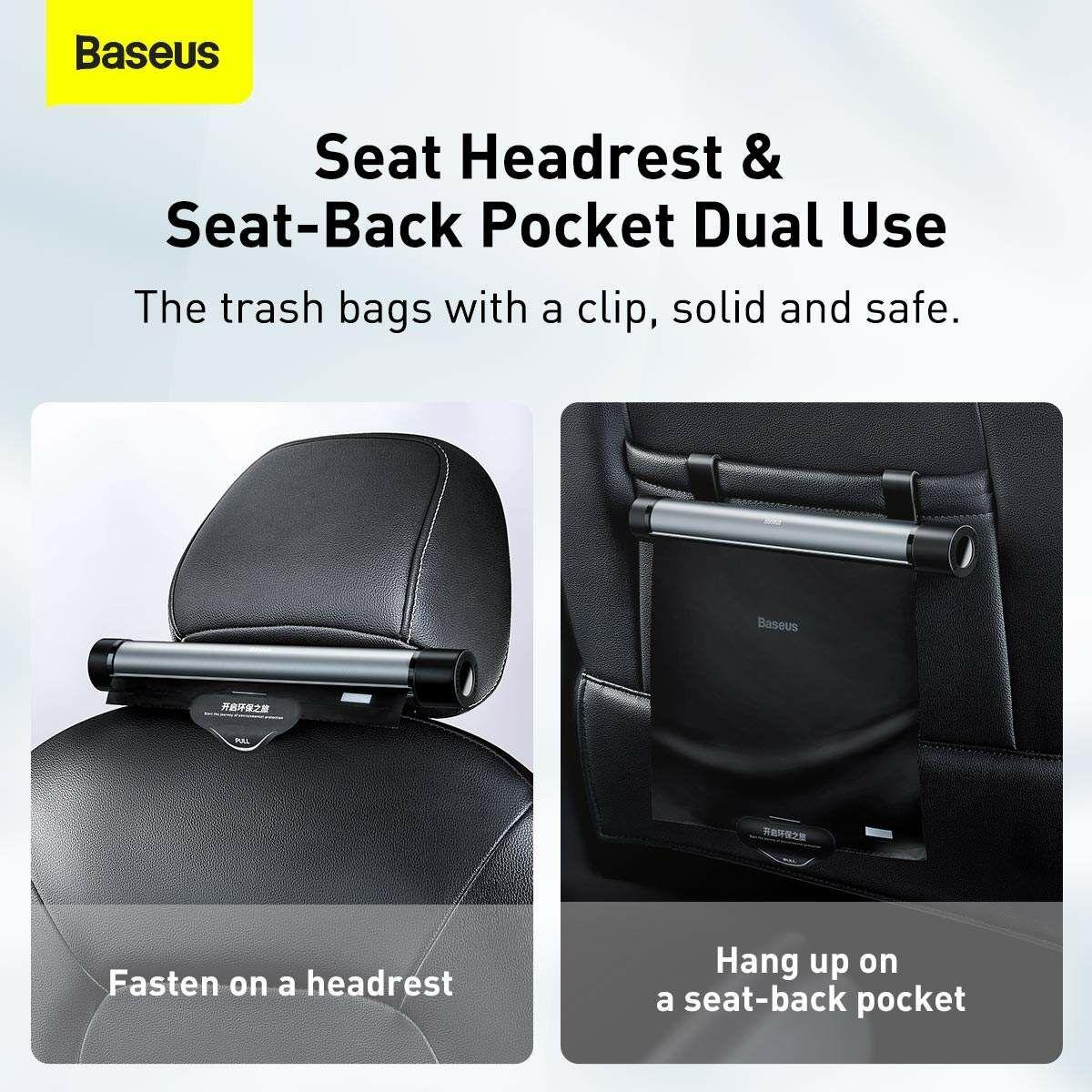 Baseus autós kiegészítő, Clean Garbage, szemeteszsák a hátsó ülés részre, fekete (CRLJD-C01)