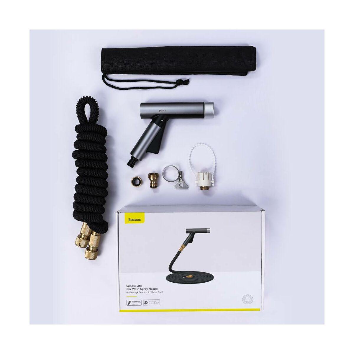 Baseus autós kiegészítő, autómosó permetező fej (Magic teleszkópos csővel) 7.5m locsolótömlő, fekete (CRXC01-A01)