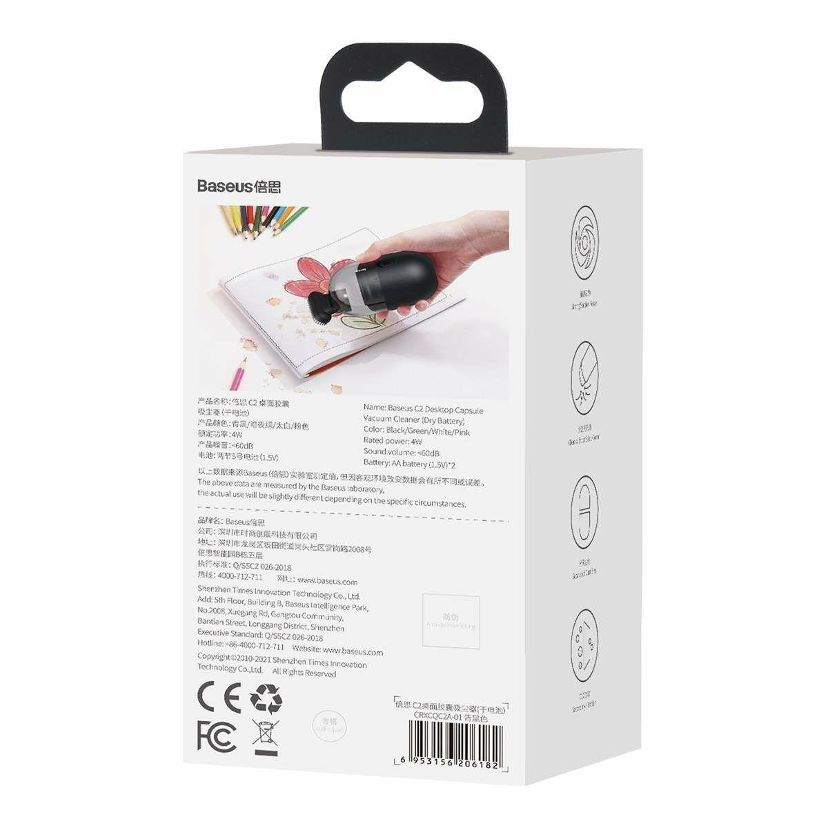 Baseus autós kiegészítő, C2 mini vezeték nélküli porszívó, 700Pa, 4W, fekete (CRXCQC2A-01)