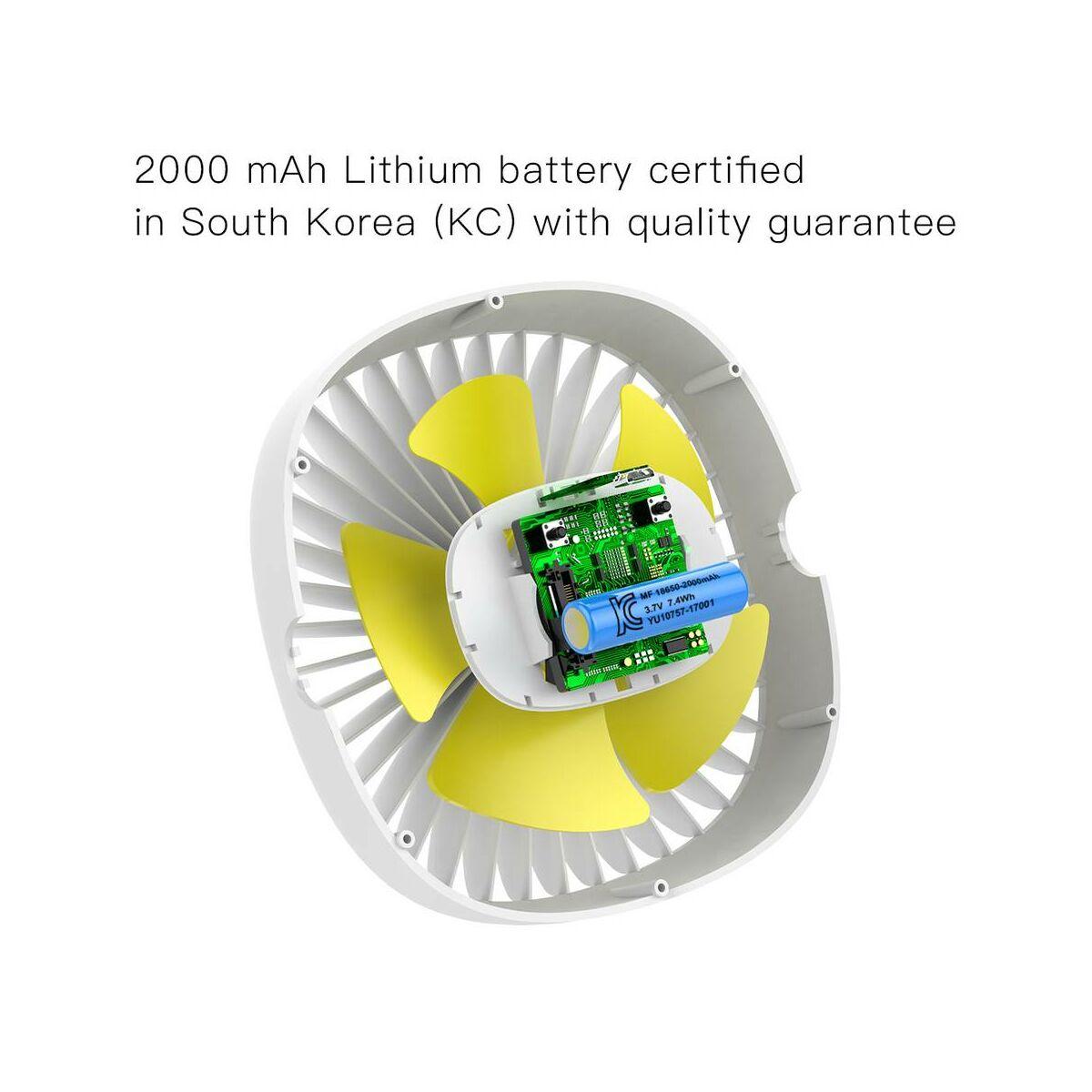Baseus ventilátor, otthoni, Box Clamping, 2000 mAh, 3.5W, fehér (CXFHD-02)