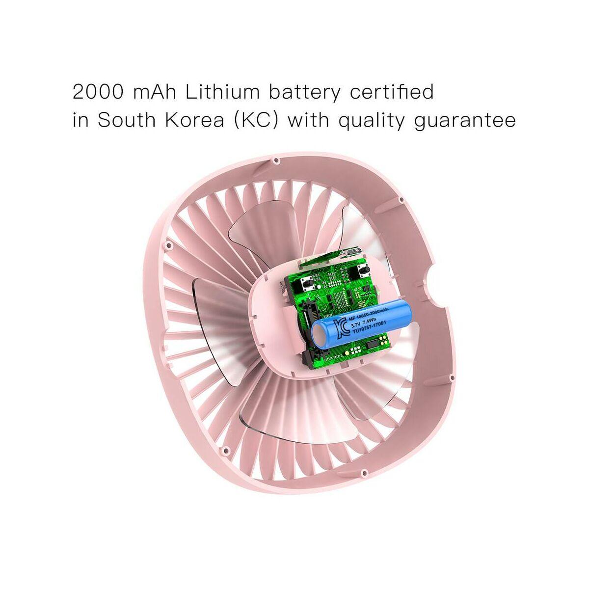Baseus ventilátor, otthoni, Box Clamping, 2000 mAh, 3.5W, rózsaszín (CXFHD-04)