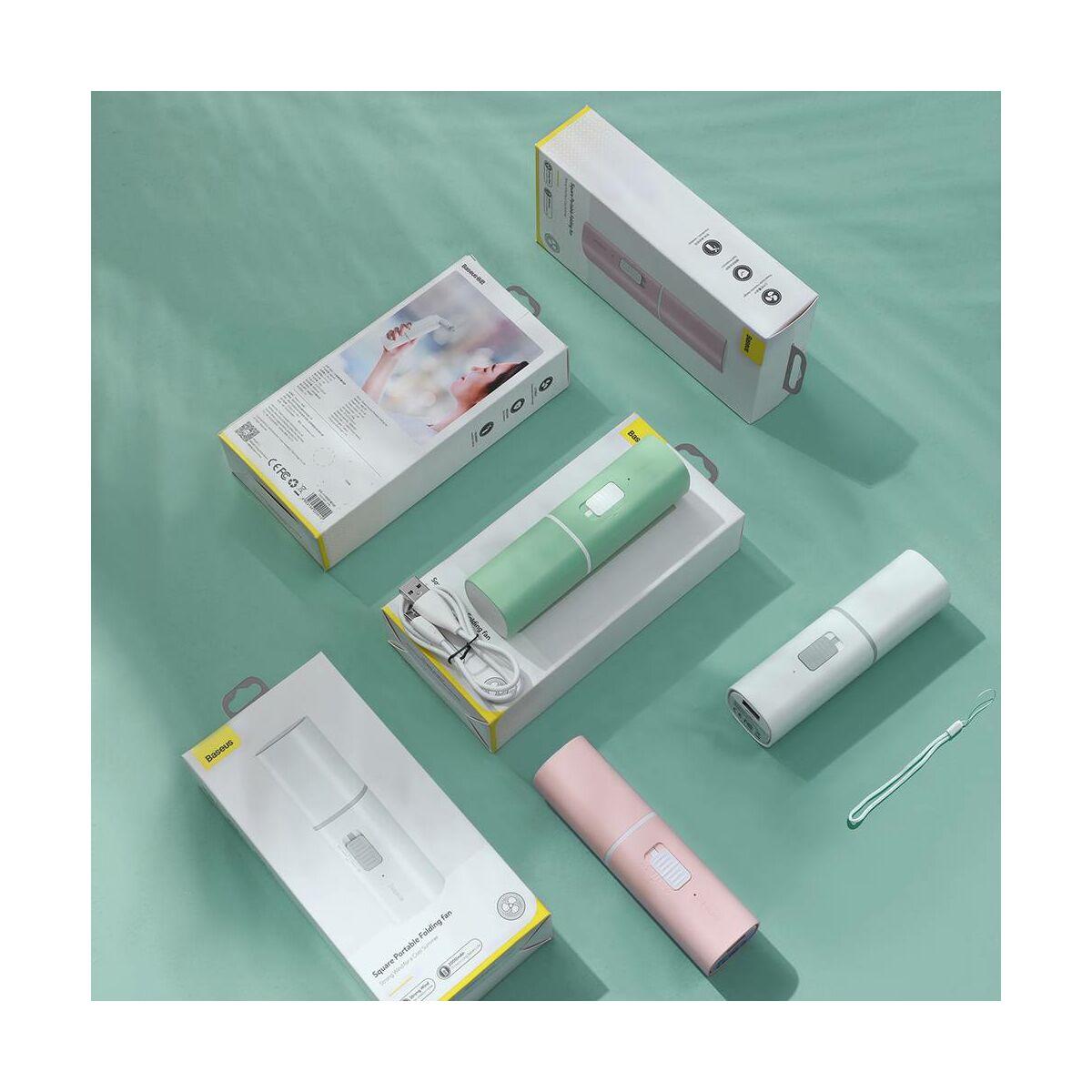 Baseus ventilátor, hordozható, Square, összehajtható, 2000 mAh, 1.1W, rózsaszín (CXZD-B04)