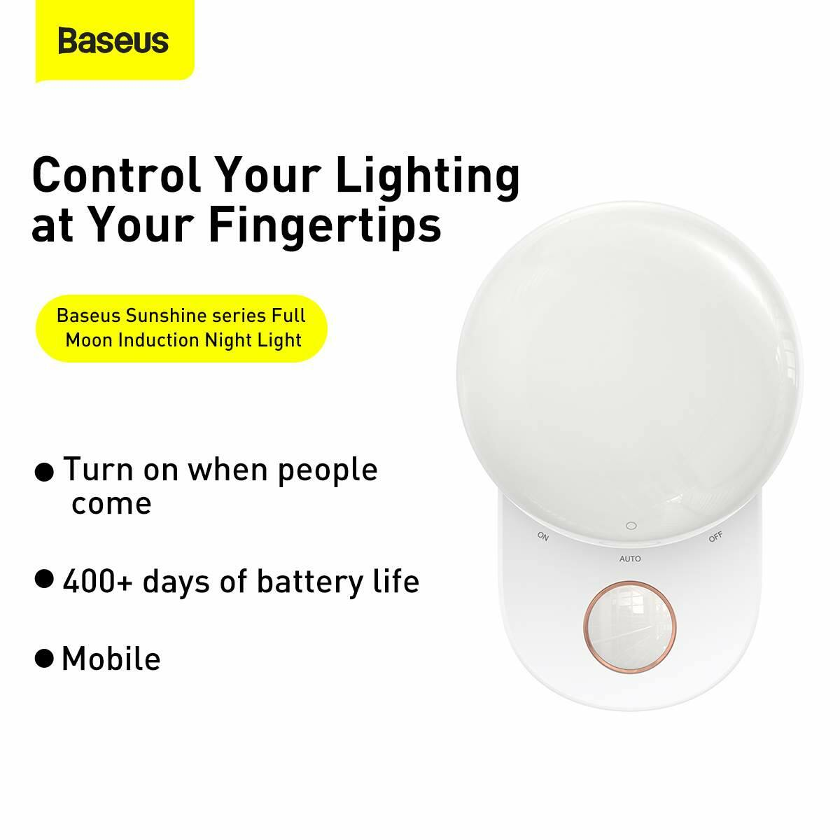 Baseus otthon, Full Moon Human Body Induction LED lámpa, 1800 mAh, fehér (DGFM-02)
