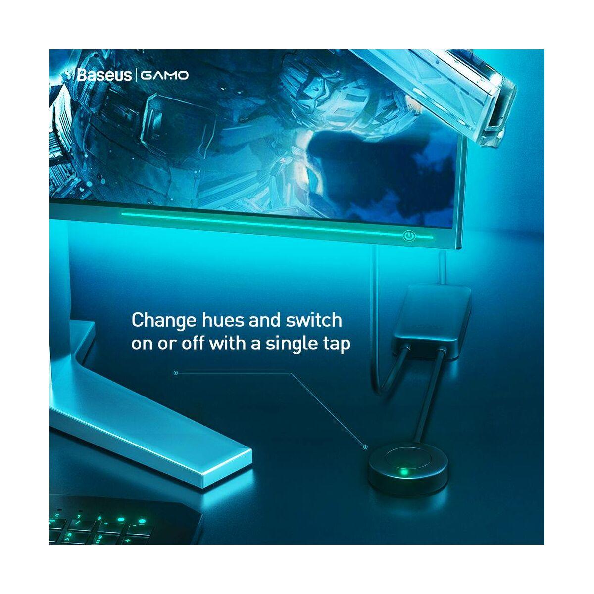 Baseus otthon, LED szalag, Electronic Sports Game verziós, fekete szalagos, USB csatlakozós, színes (RGB) fekete (DGKU-01)