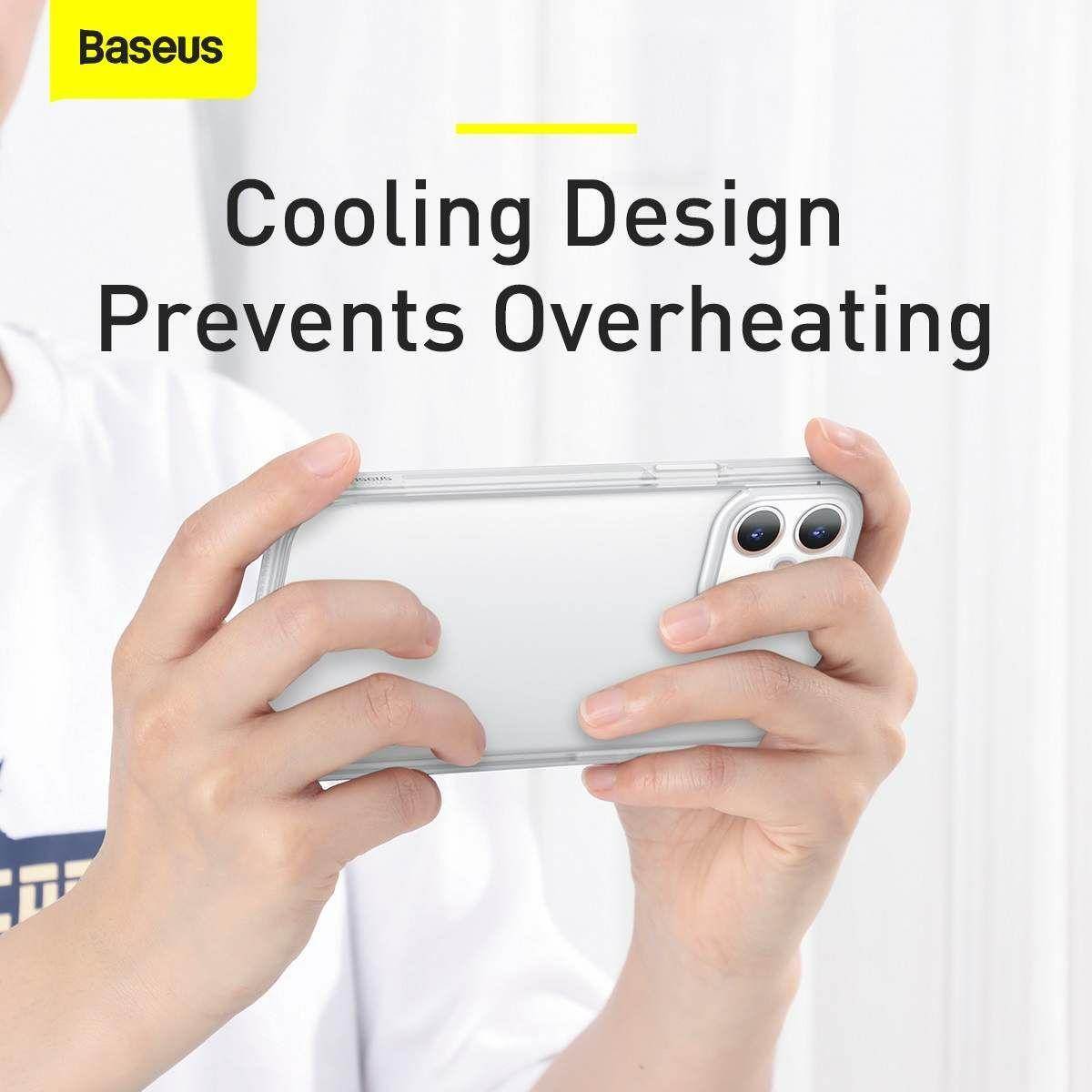 Baseus iPhone 12 mini Kamera lencsevédő kerettel tok, fehér (FRAPIPH54N-02)