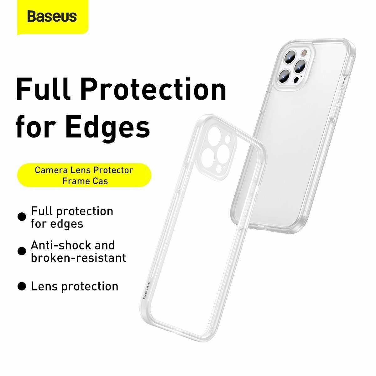 Baseus iPhone 12 Pro Kamera lencsevédő kerettel tok, fehér (FRAPIPH61P-02)