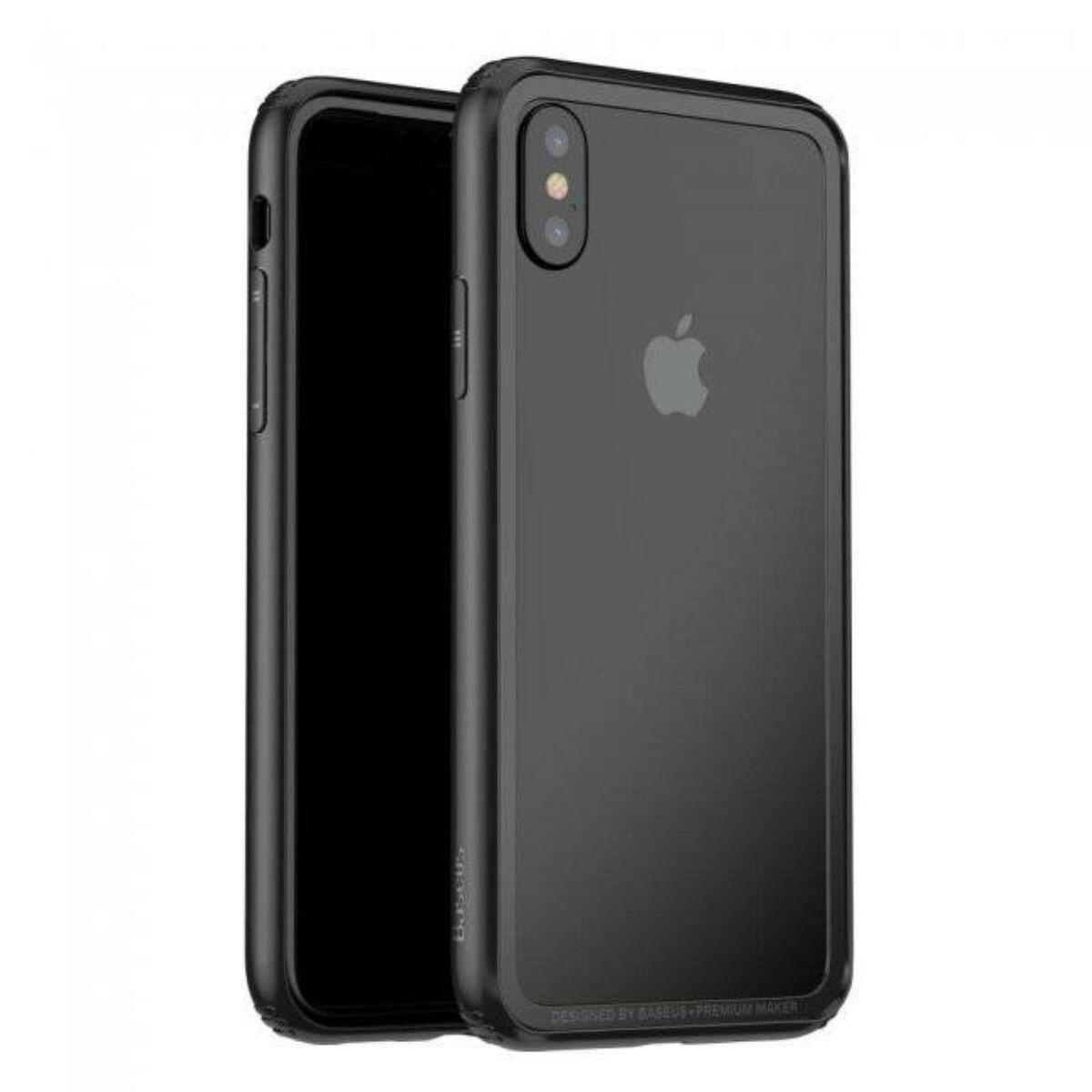 Baseus iPhone X/XS Hard and Soft telefonvédő gumikeret, fekete (FRAPIPHX-01)
