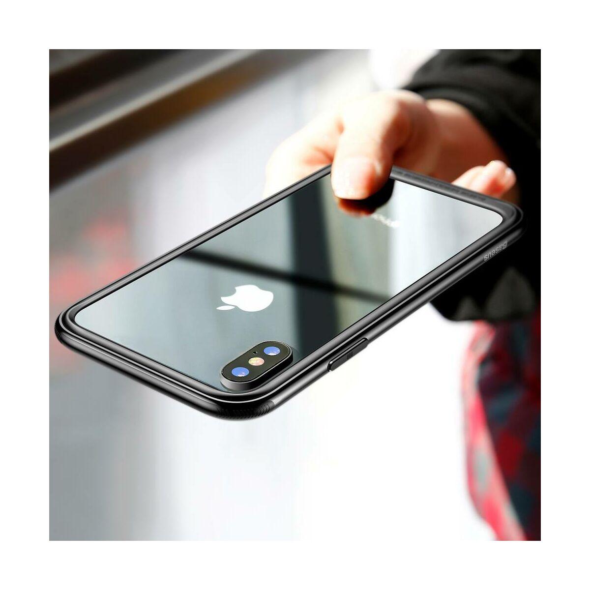 Baseus iPhone X/XS tok, Platinum Metal Border bumper, fekete (FRAPIPHX-B01)