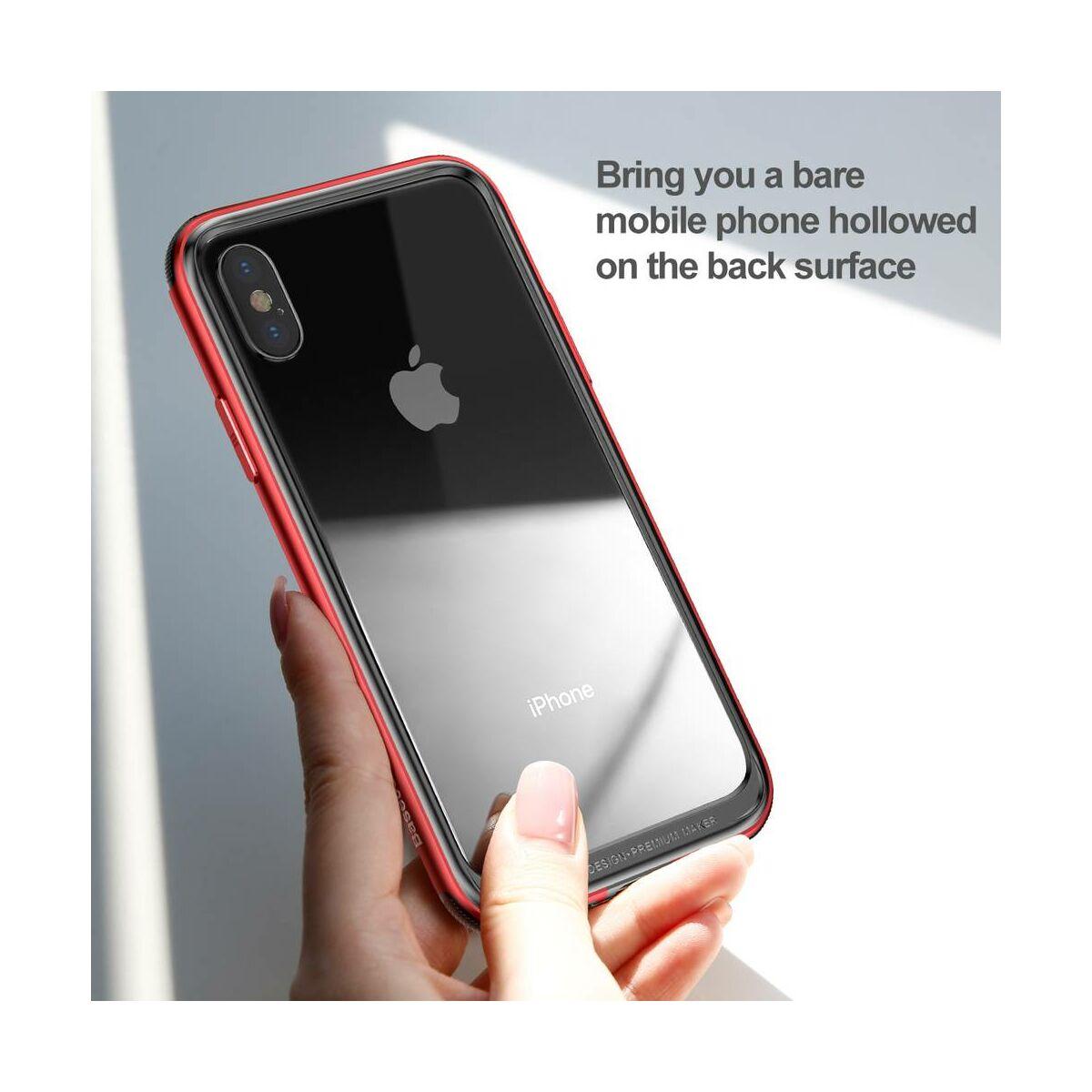 Baseus iPhone X/XS tok, Platinum Metal Border bumper, piros (FRAPIPHX-B09)
