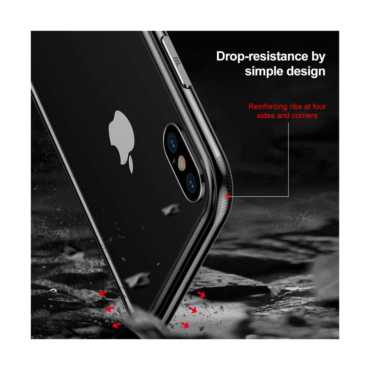 Baseus iPhone X/XS tok, Platinum Metal Border bumper, asztro szürke (FRAPIPHX-B0G)