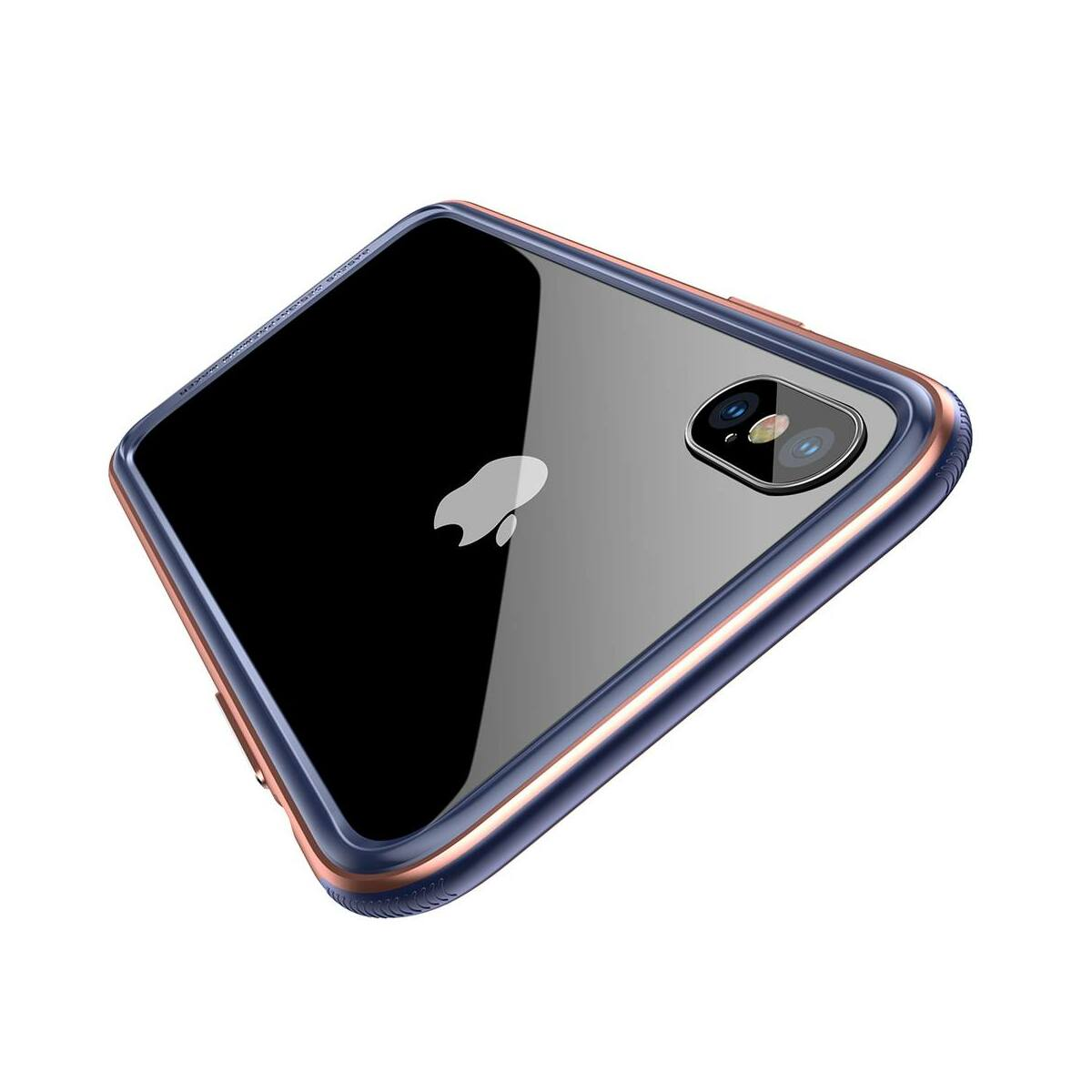 Baseus iPhone X/XS tok, Platinum Metal Border bumper, rózsaarany (FRAPIPHX-B0R)