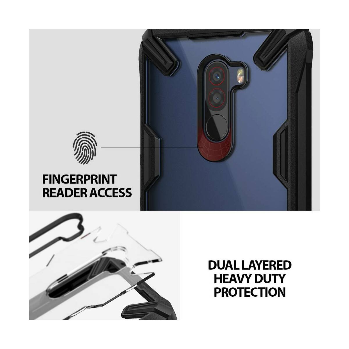 Ringke Pocophone F1 tok, Fusion X, fekete