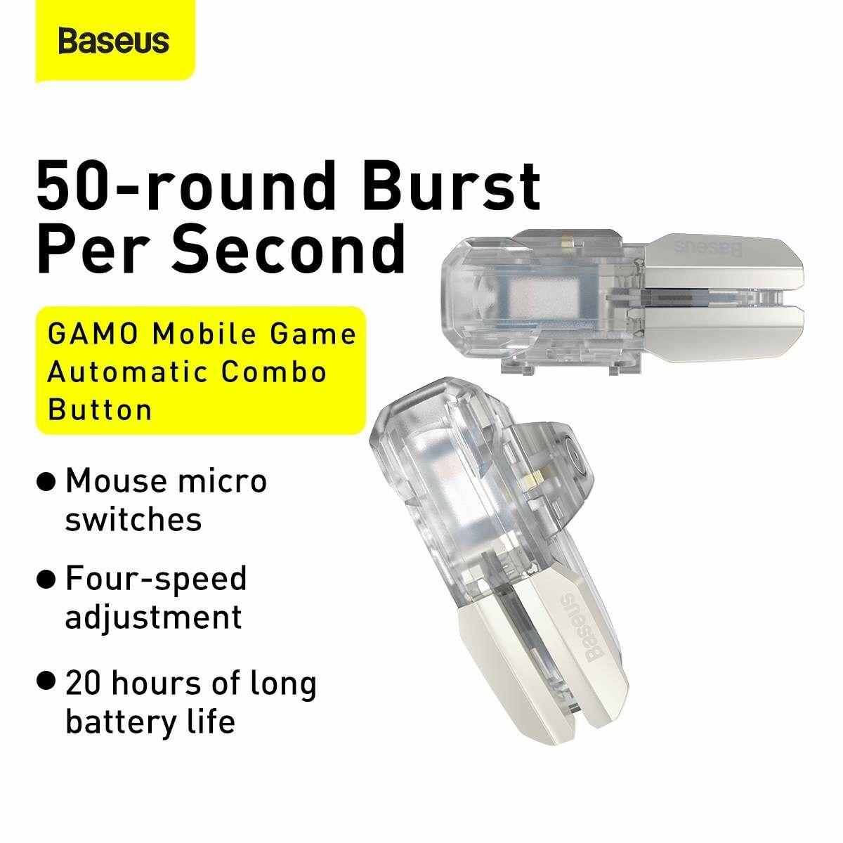Baseus játék eszköz, GAMO Automatic combo button GA09, jobb kezes vezérlő mobil játékhoz, átlátszó (GMGA09-01)