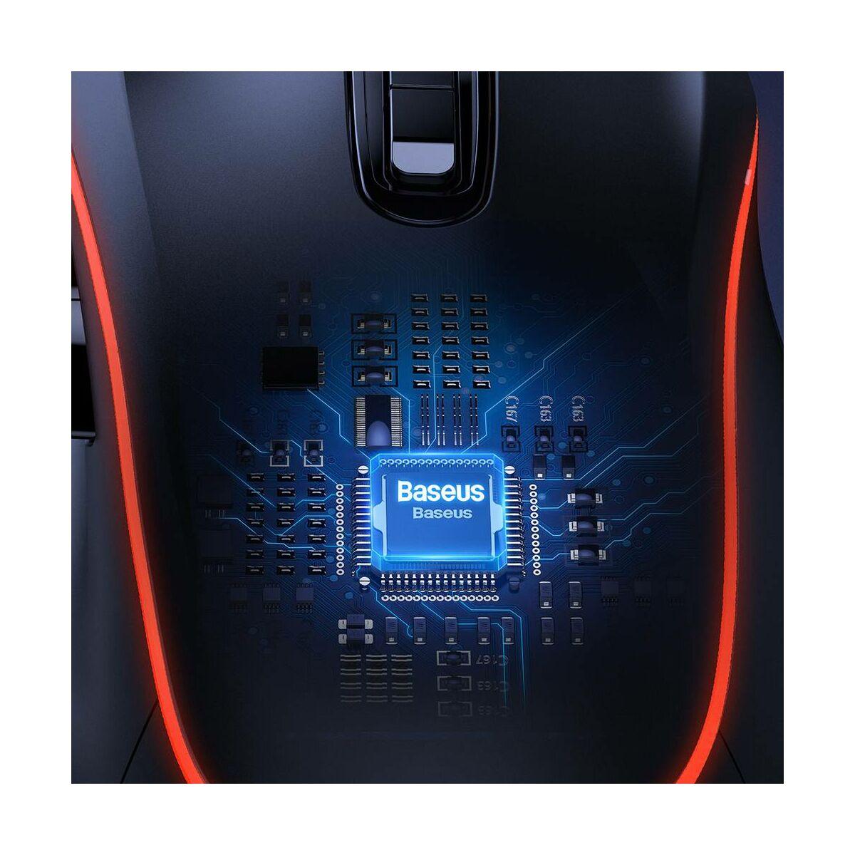 Baseus játék eszköz, GAMO egér, 6400 DPI, 9db programozható gomb, fekete (GMGM01-01)