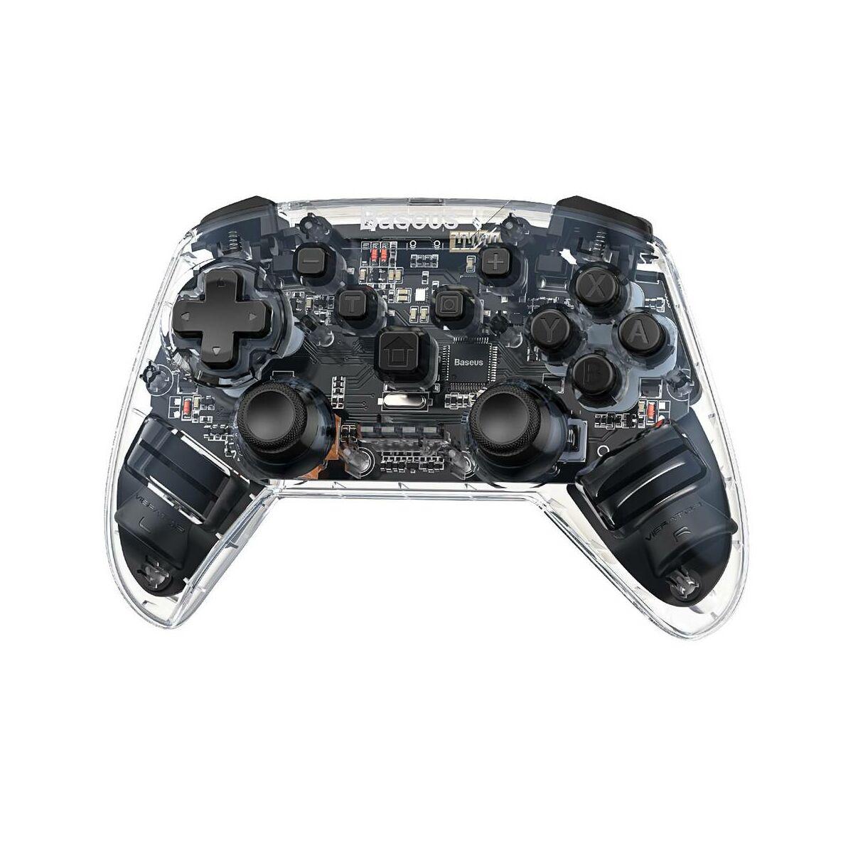 Baseus játék eszköz, Game Pad játékvezérlő, vezeték nélküli, Bluetooth, Rezgő játékvezérlő, átlátszó (GMSWA-01)