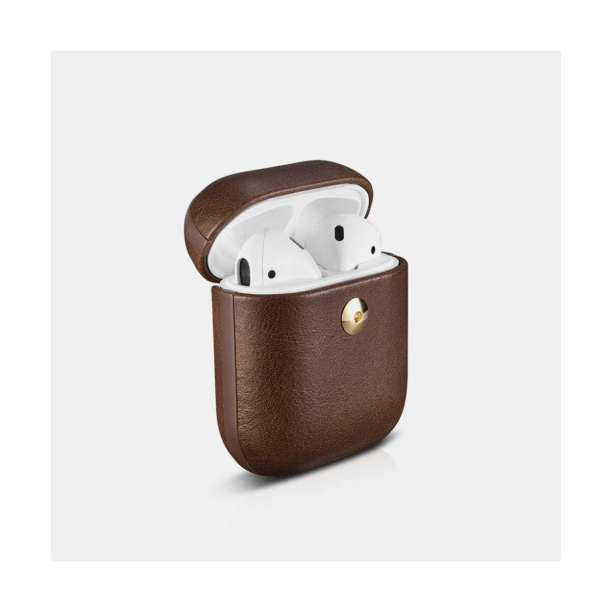 iCarer Apple Airpods Tok, Crazy Horse Sorozat Bőr, lecsatolható kávészín