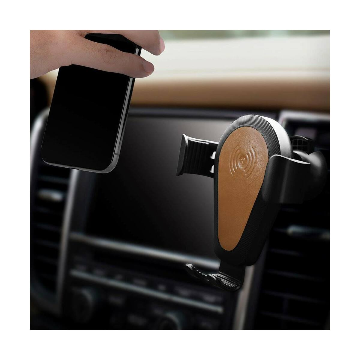iCarer Autós telefon tartó, szellőzőrácsra helyezhető, vezetél nélküli töltés, QC 10W, valódi bőr betéttel, fekete