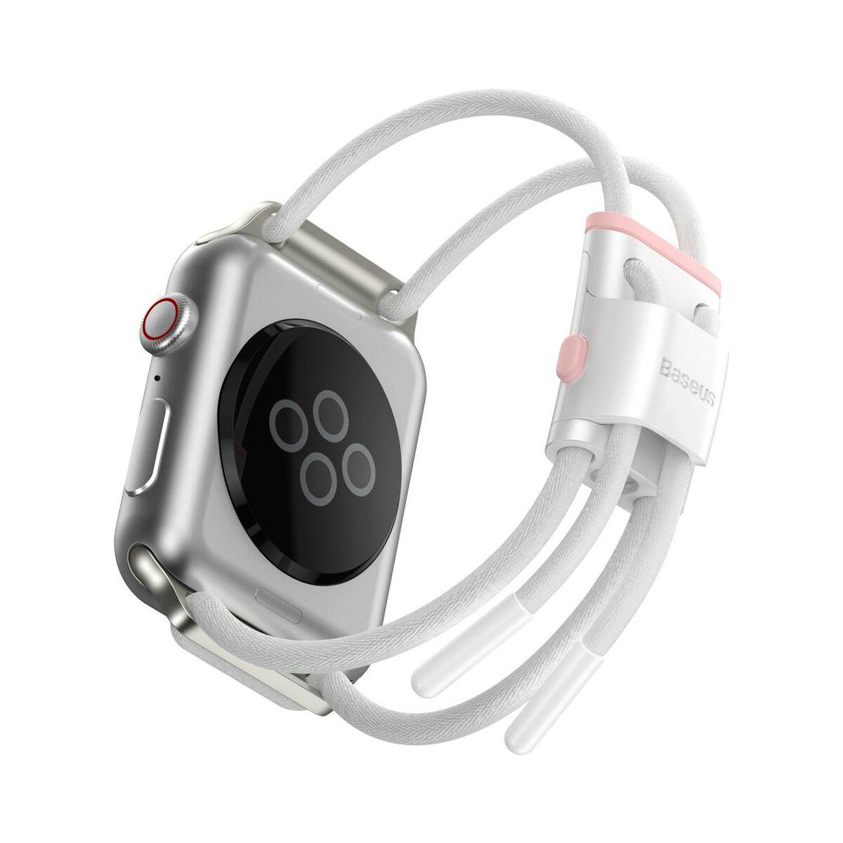 Baseus Apple Watch óraszíj, Lets go zárható, méretre állítható, 3,4,5 modellekhez, 38 mm / 40 mm, fehér/ rózsaszín (LBAPWA4-A24)
