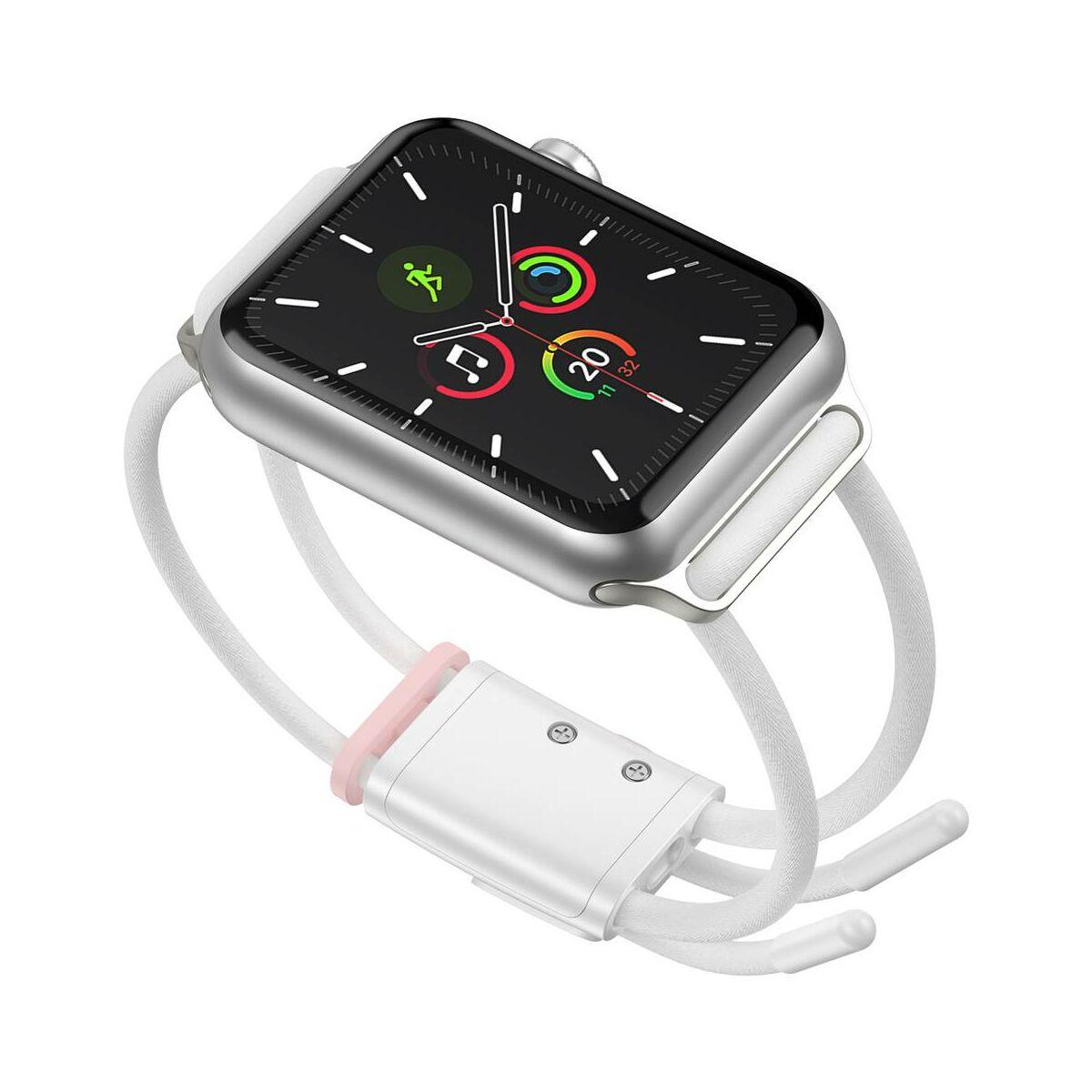 Baseus Apple Watch óraszíj, Lets go zárható, méretre állítható, 3,4,5, modellekhez 42 mm / 44 mm, fehér/rózsaszín (LBAPWA4-B24)