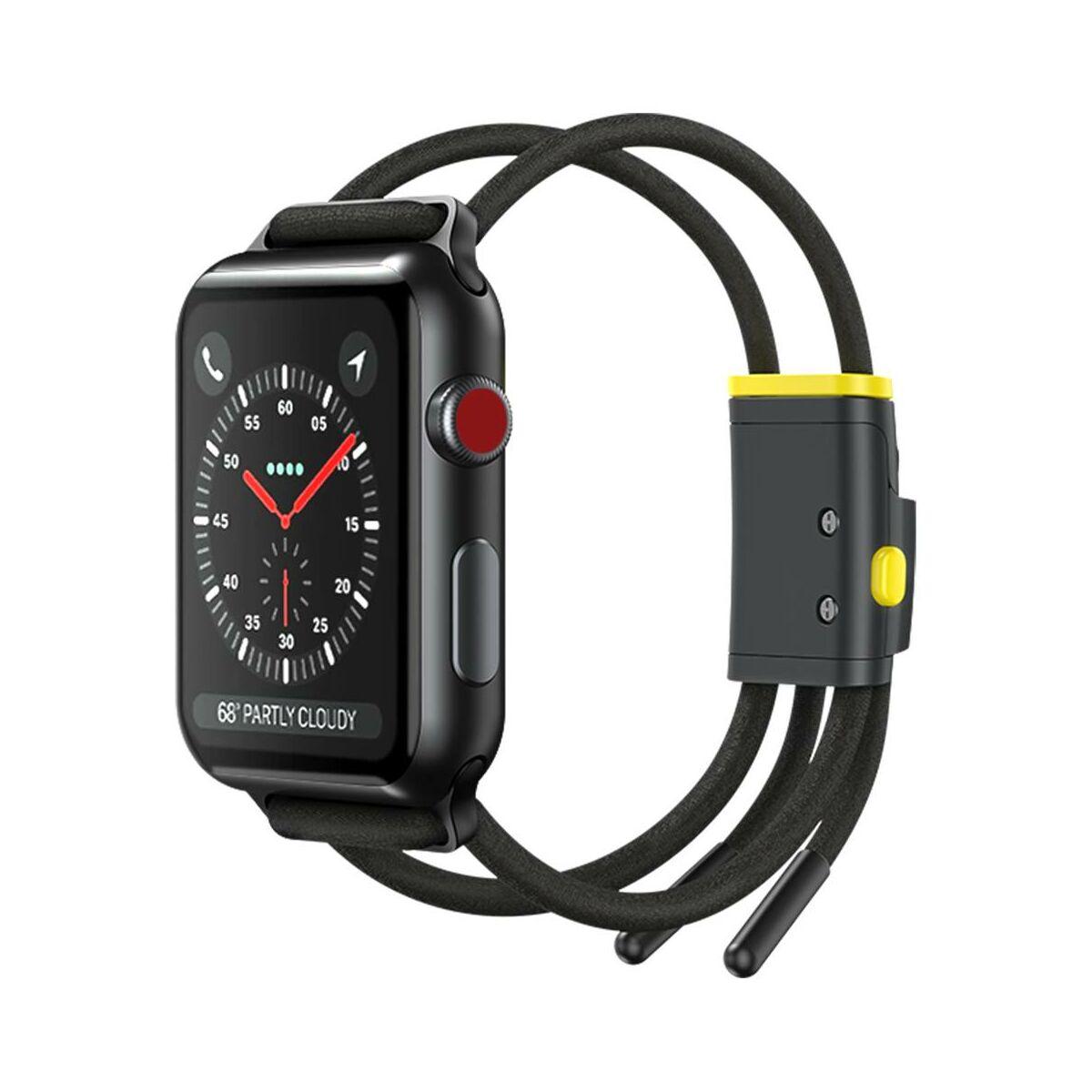 Baseus Apple Watch óraszíj, Lets go zárható, méretre állítható, 3,4,5, modellekhez 42 mm / 44 mm, szürke/sárga (LBAPWA4-BGY)
