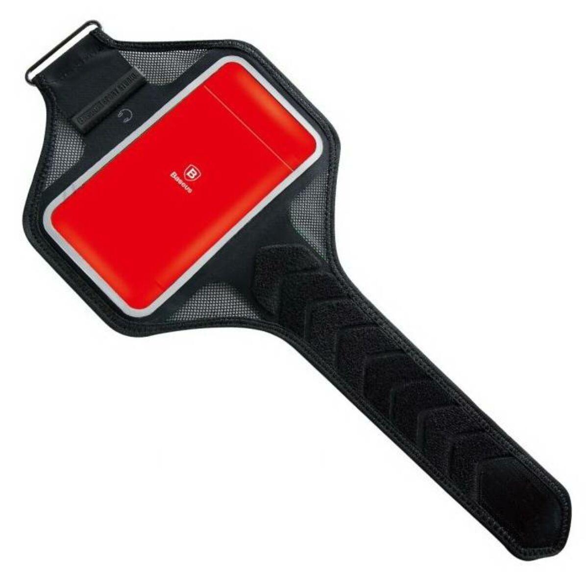 """Baseus állítható sport felkar tok, 5.0""""-ig, fekete/piros (LBMD-A09)"""