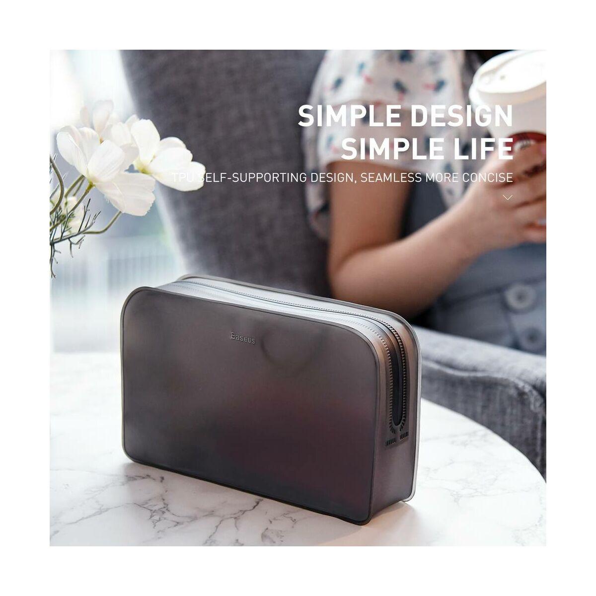 Baseus kézi táska, Self-supporting TPU receipt, belső mobil és tartozék rendezővel (198x45x120 mm) M méret, fekete (LBZL-A01)