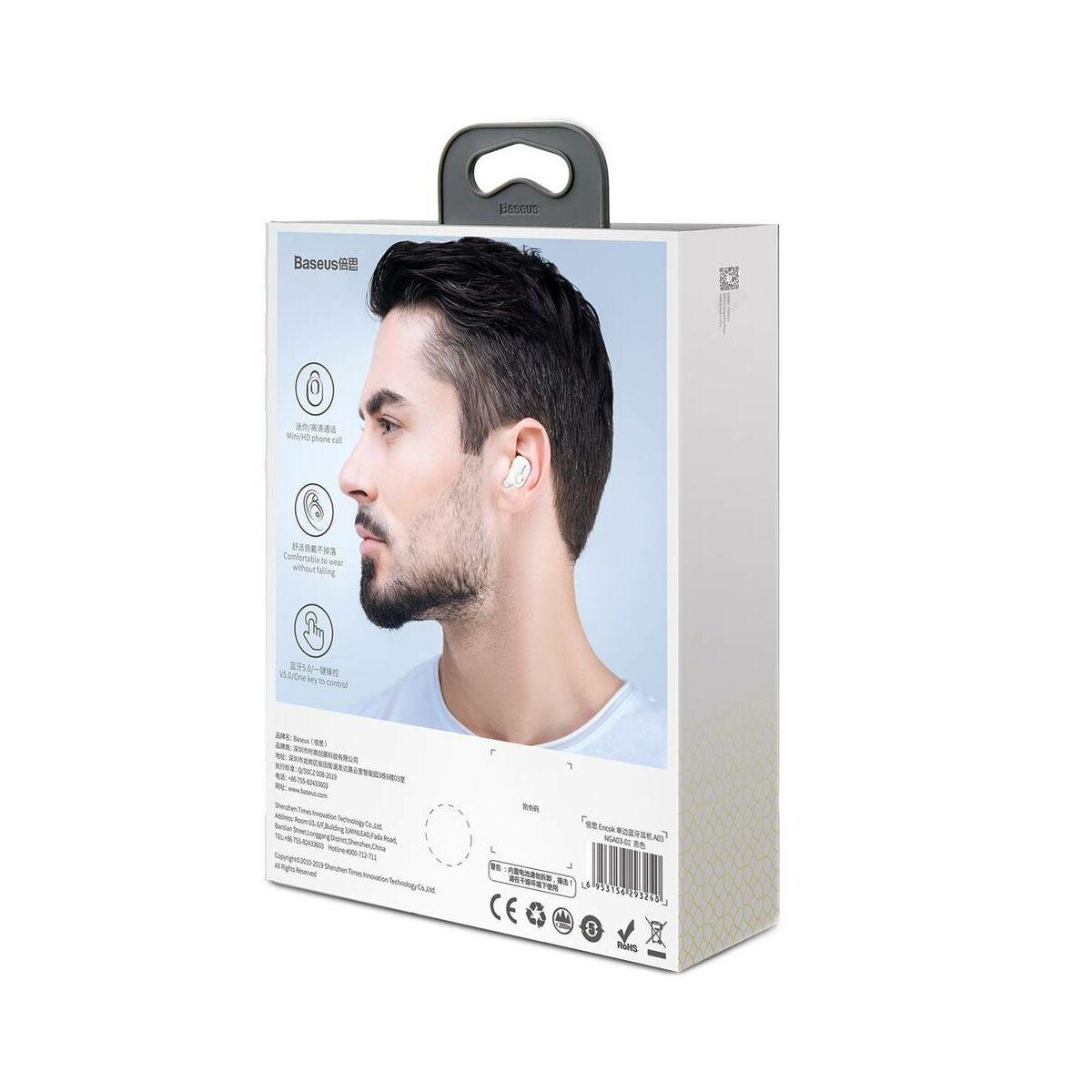 Baseus fülhallgató, Bluetooth Encok A03, vezeték nélküli, fehér (NGA03-02)