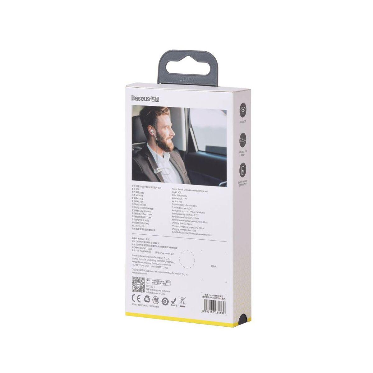 Baseus Headset Bluetooth Encok A06 Mono, ruhára csíptethető vezérlővel, fehér (NGA06-02)