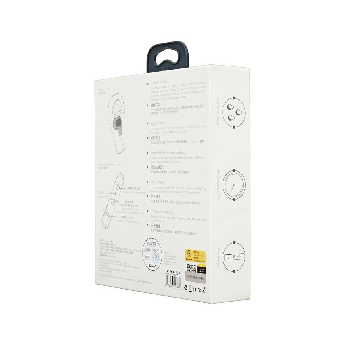 Baseus fülhallgató, Bluetooth Encok B15, Seal vezeték nélküli, sztereó, ezüst/fehér (NGB15-02)