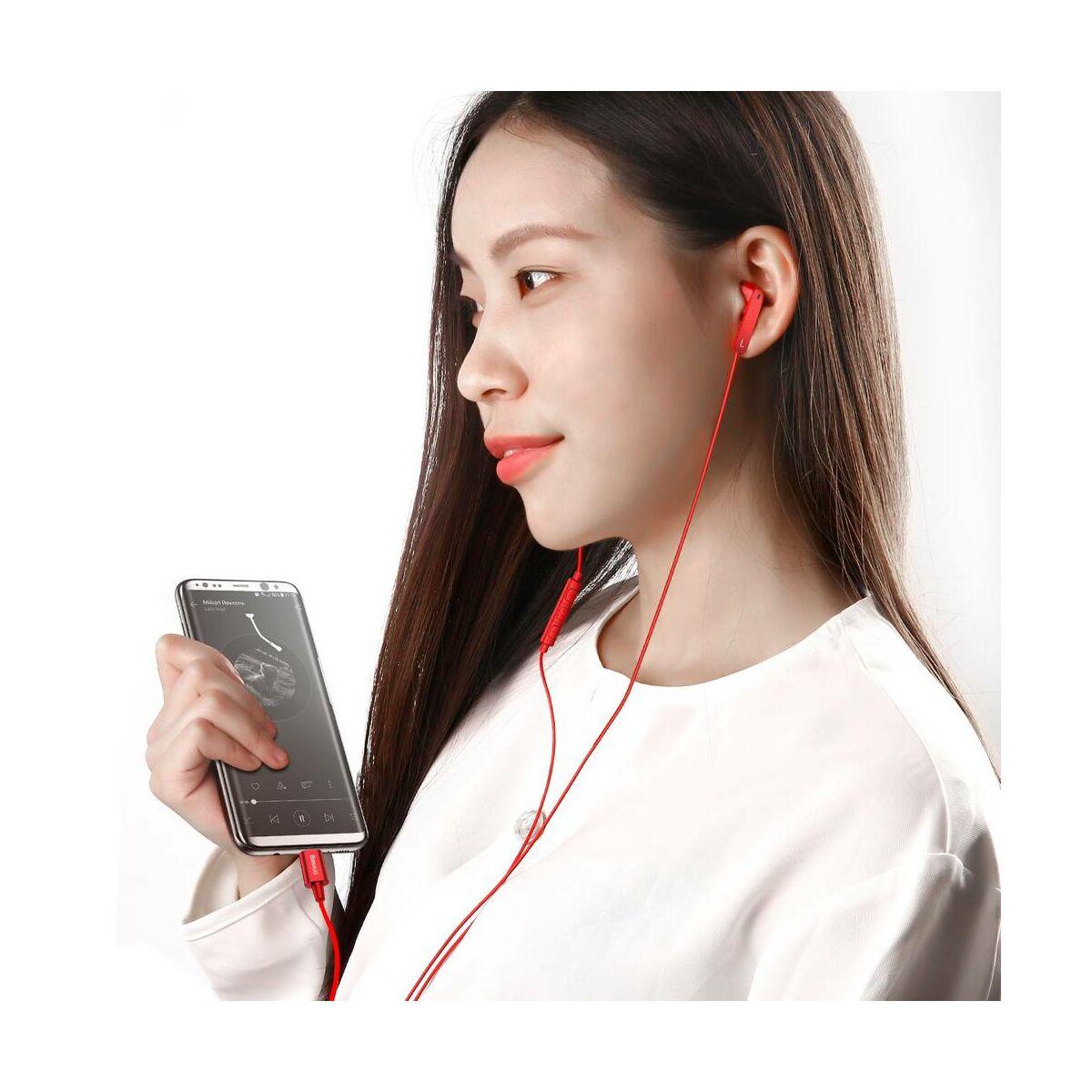 Baseus fülhallgató, Encok C16, Type-C, vezetékes, piros (NGC16-09)