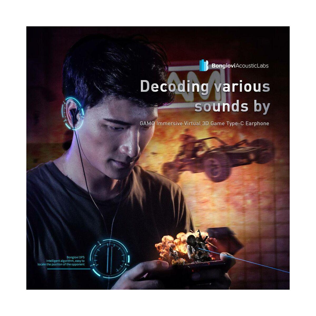 Baseus fülhallgató, GAMO C18, Immersive Virtual 3D mobil játékokhoz, vezetékes, Type-C csatlakozóval, fekete (NGC18-01)