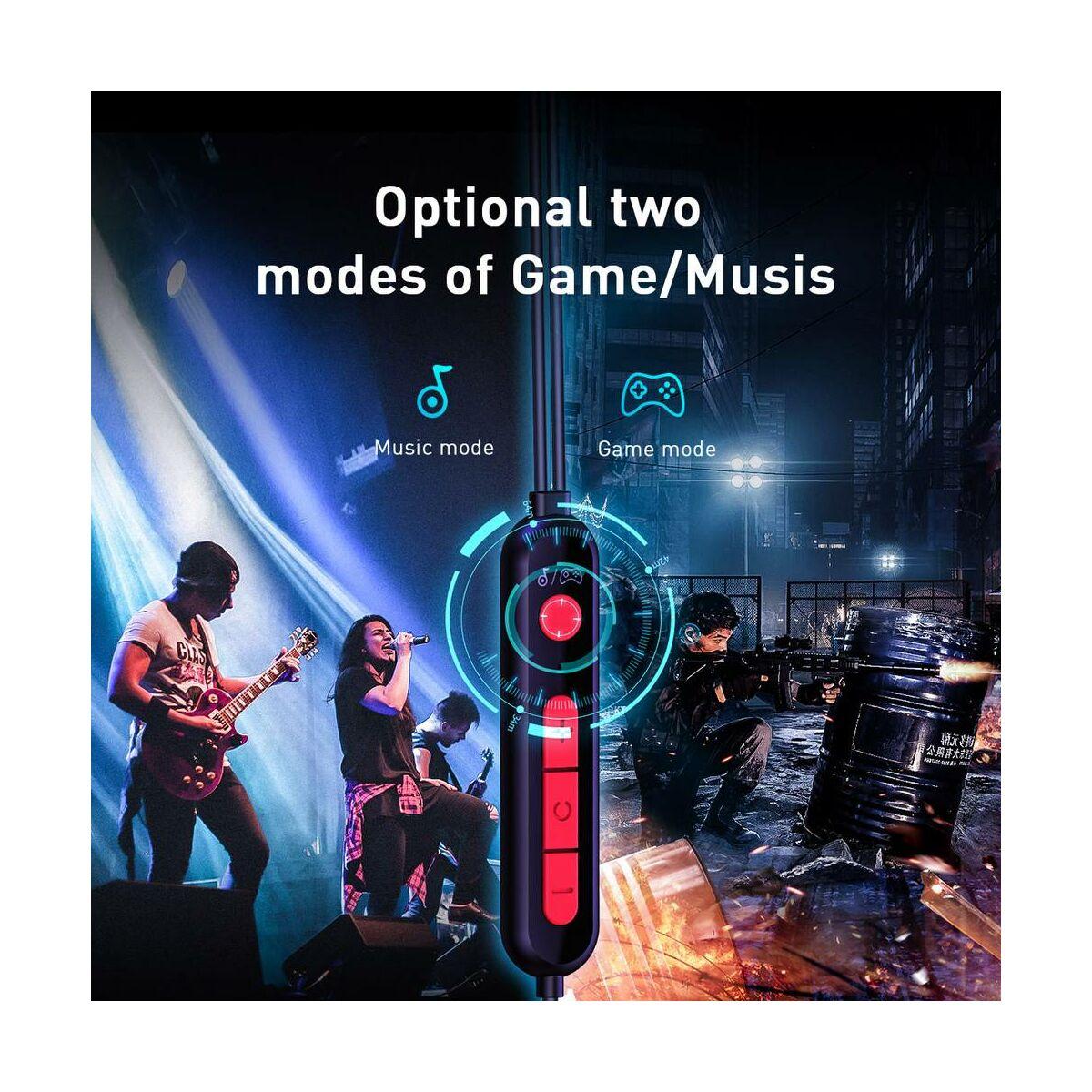 Baseus fülhallgató, GAMO C18 Immersive Virtual 3D mobil játékokhoz, vezetékes, Type-C csatlakozóval, piros (NGC18-09)