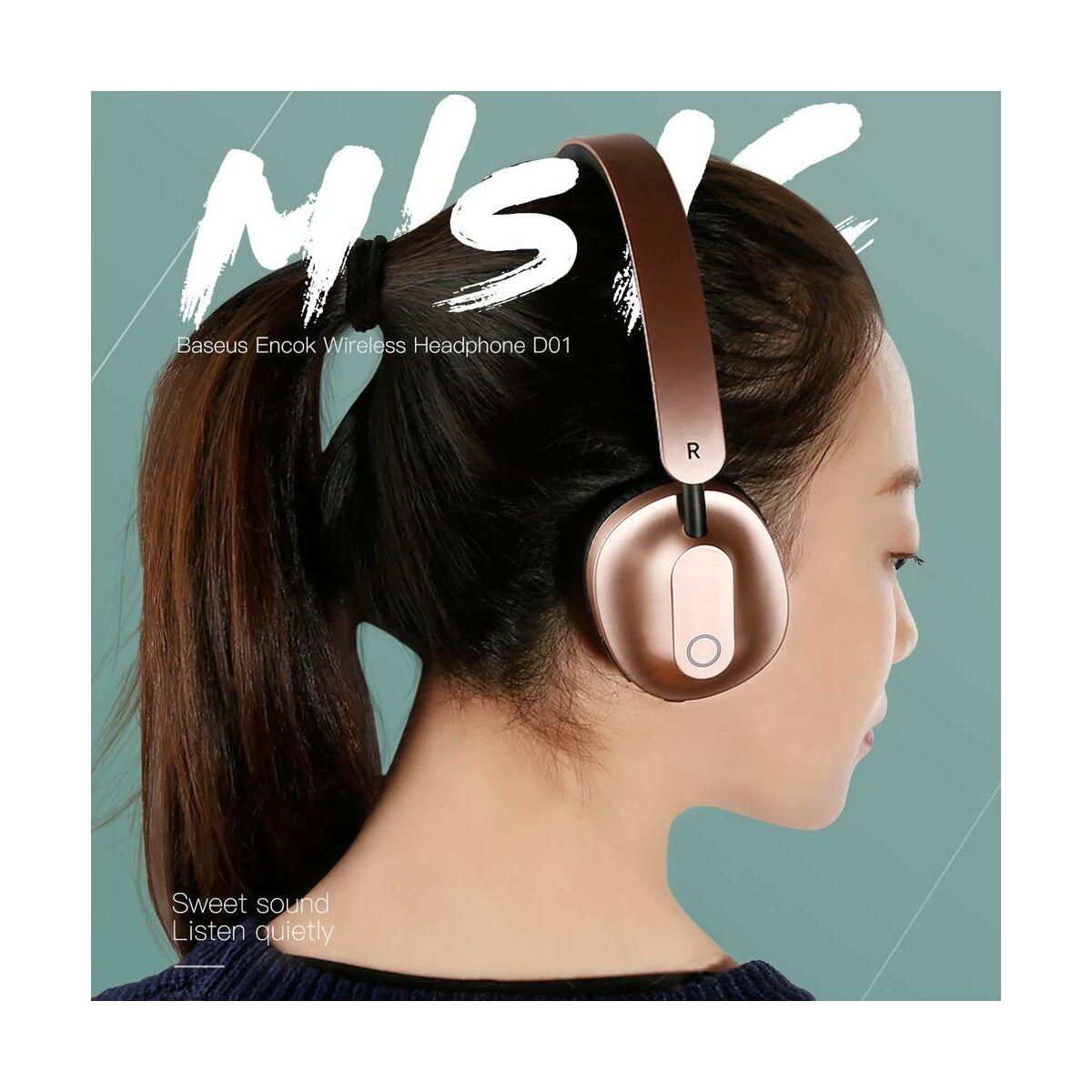 Baseus fejhallgató, Bluetooth Encok D01, vezeték nélküli, arany (NGD01-17)