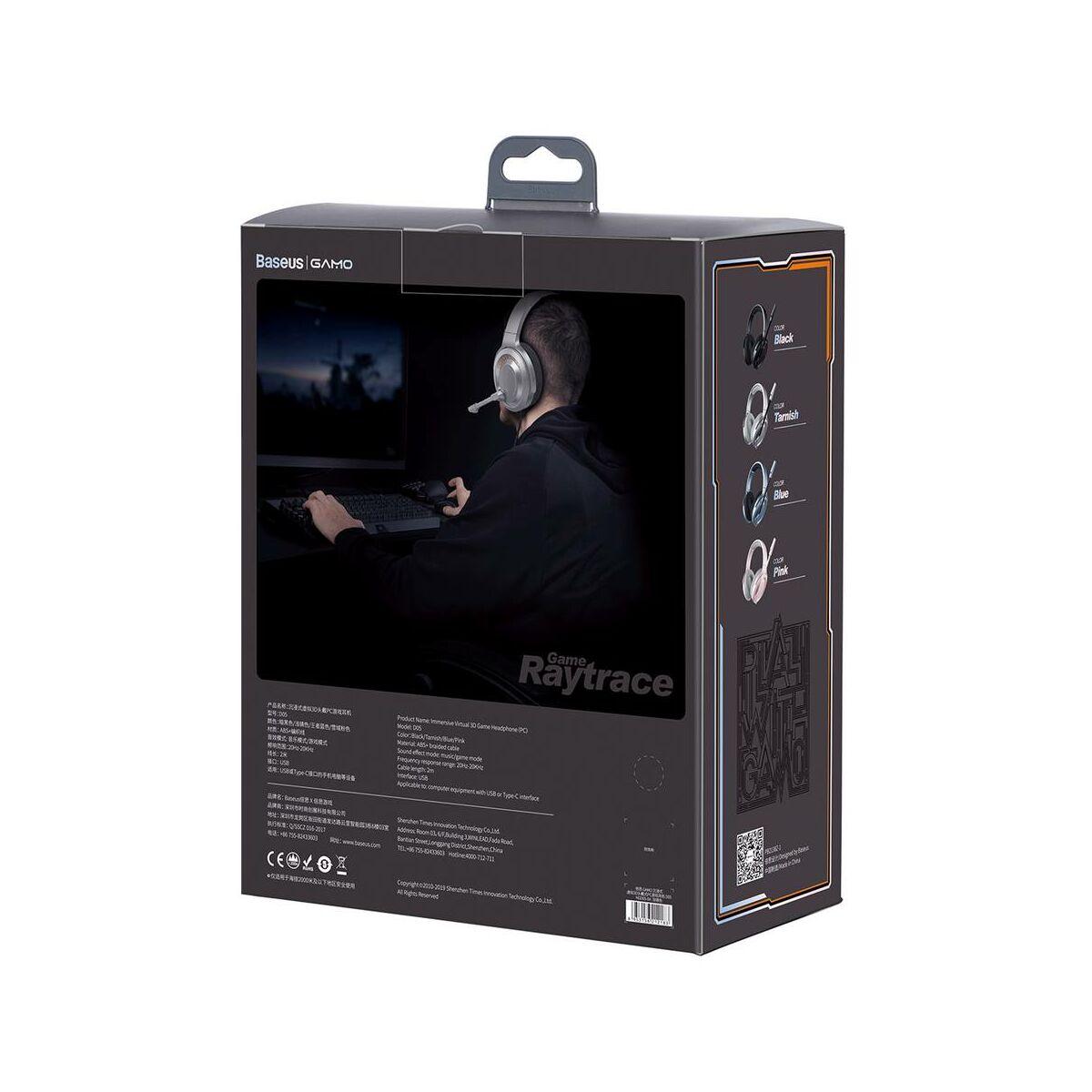 Baseus fejhallgató, Bluetooth GAMO D05 Immersive Virtual 3D Gamereknek, számítógépes játékokhoz, (PC), Barna (NGD05-0A)
