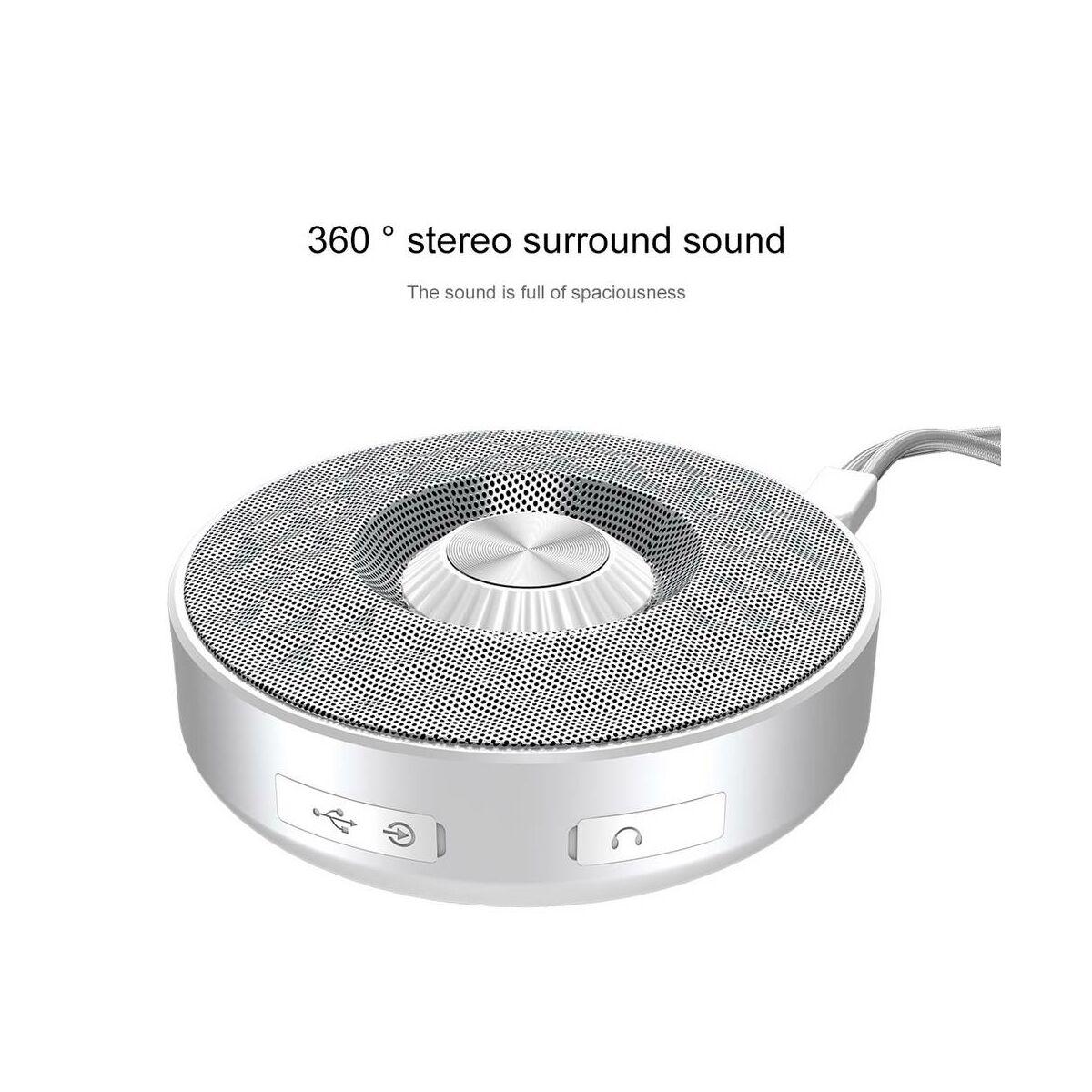 Baseus Hordozható hangszóró, Bluetooth Lanyard E03 kültéri, ezüst/fehér (NGE03-S2)