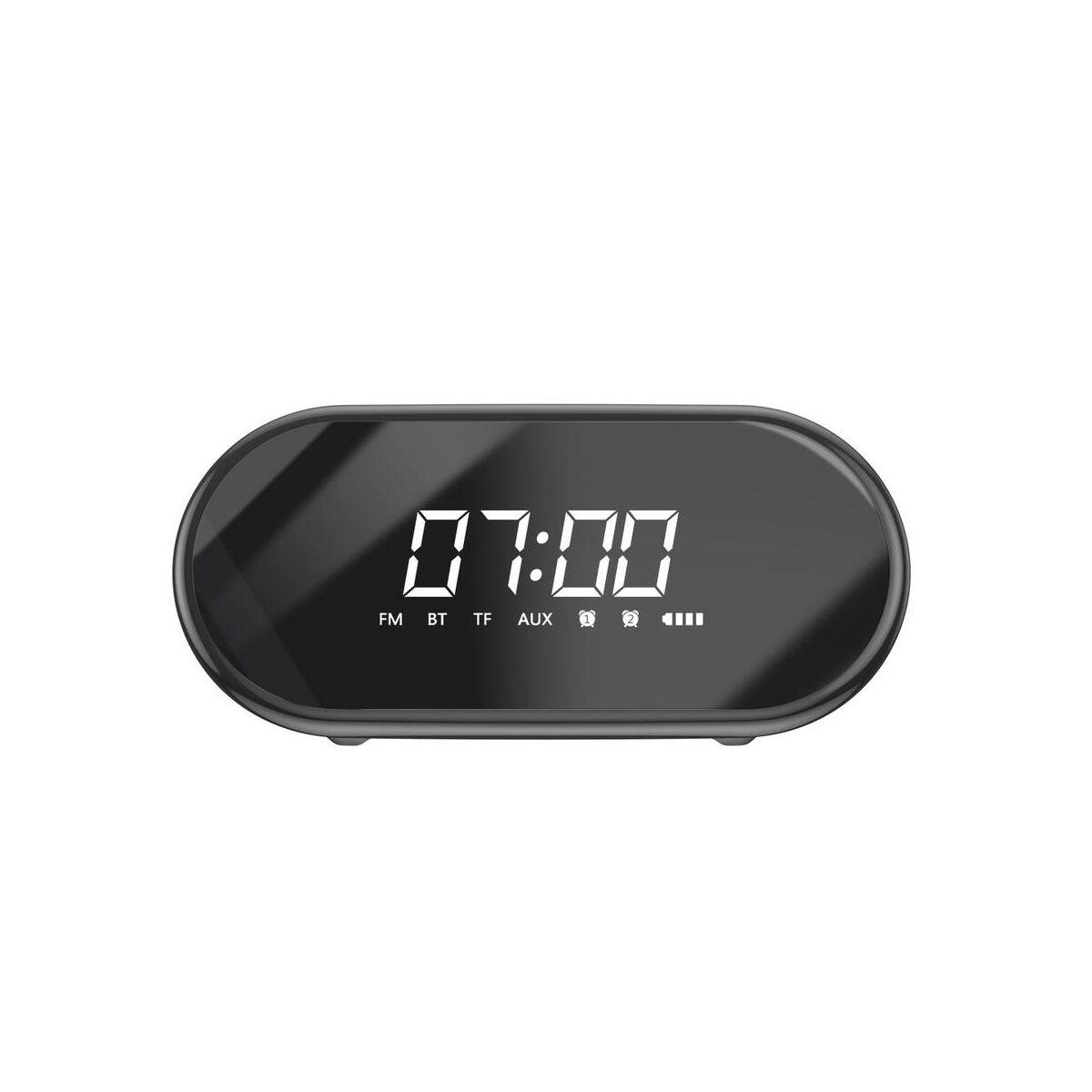 Baseus Hordozható hangszóró, Bluetooth Encok E09, ébresztő óra és LED lámpa funkcióval, fekete (NGE09-01)