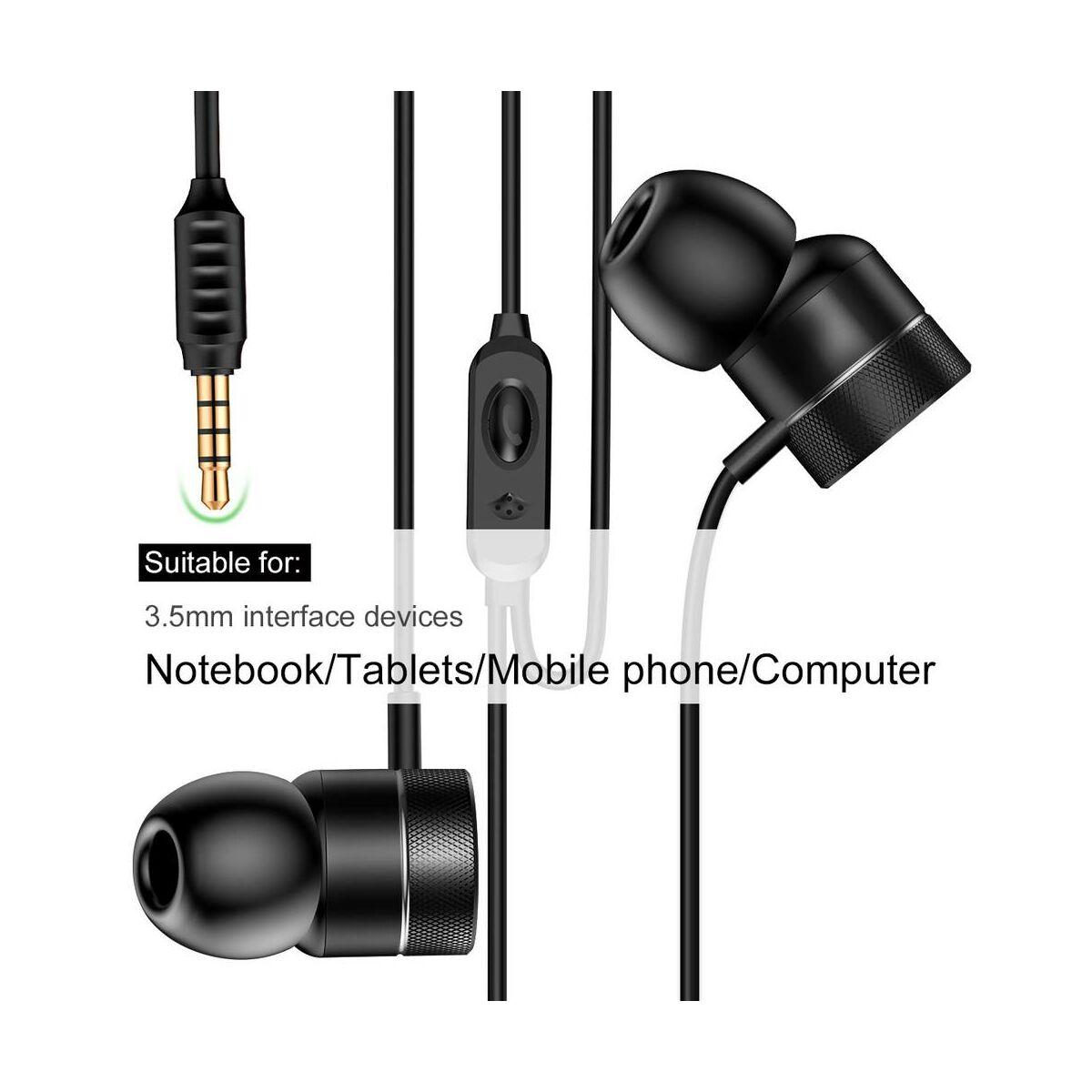 Baseus fülhallgató, Encok H04, mini jack, vezetékes, fekete (NGH04-01)