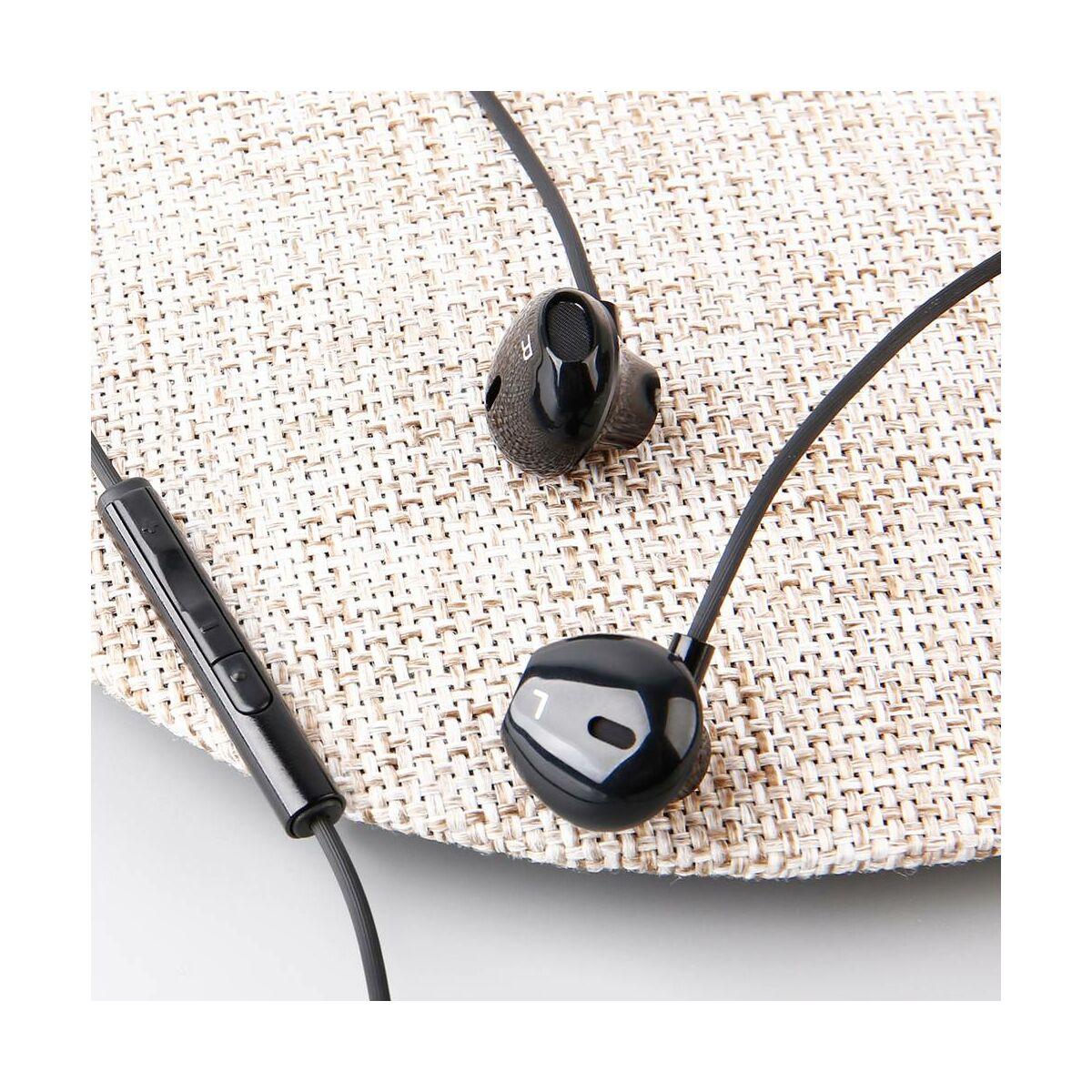 Baseus fülhallgató, Encok H06, lateral-in-ear, mini jack, vezetékes, fekete (NGH06-01)