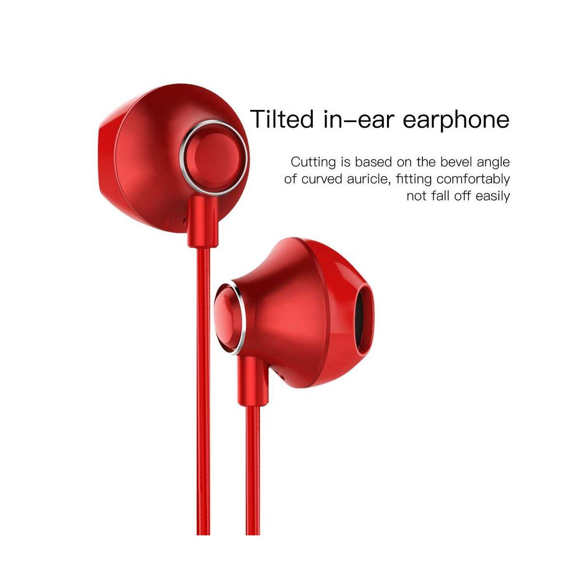 Baseus fülhallgató, Encok H06 lateral-in-ear, mini jack, vezetékes, piros (NGH06-09)