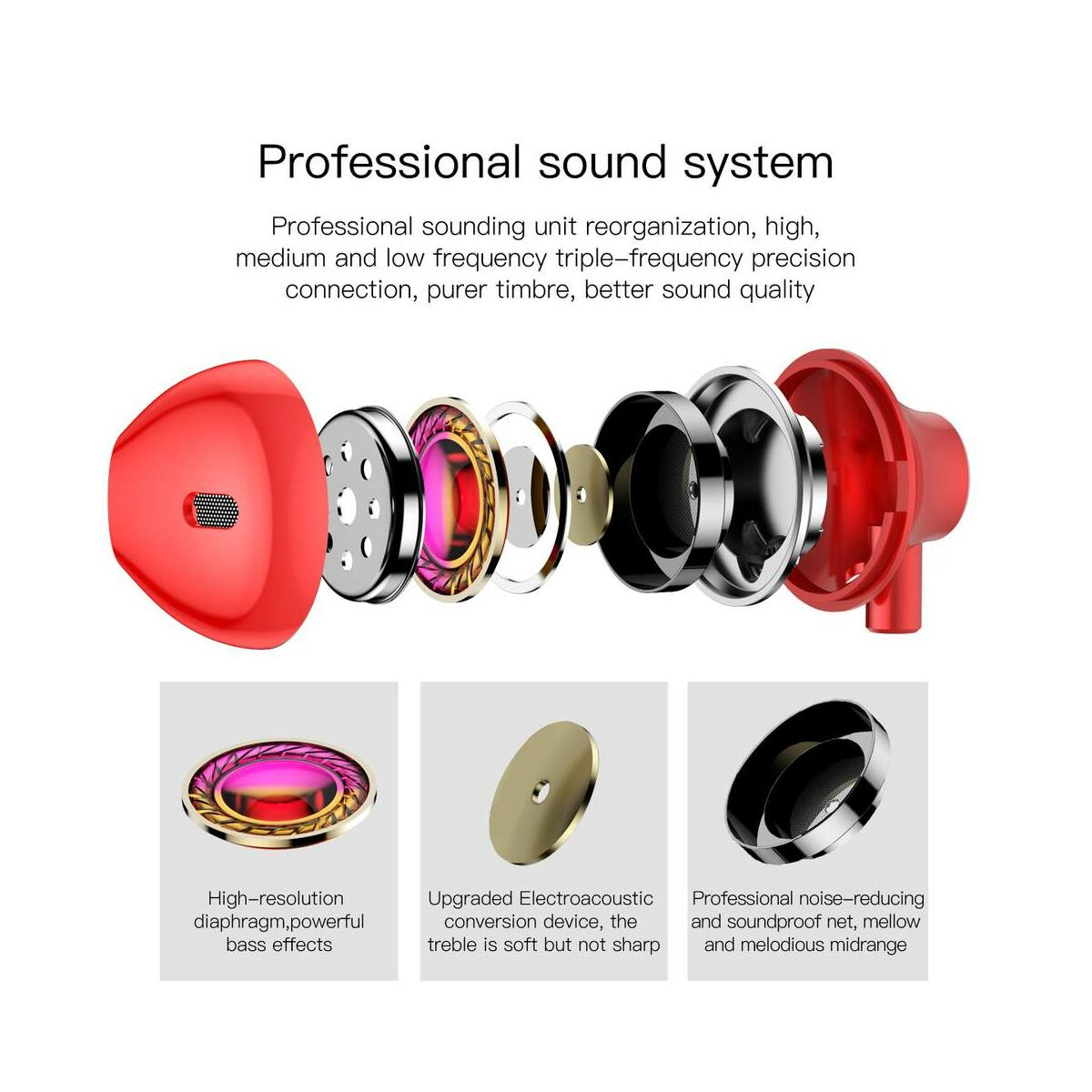 Baseus fülhallgató, Encok H06, lateral-in-ear, mini jack, vezetékes, piros (NGH06-09)