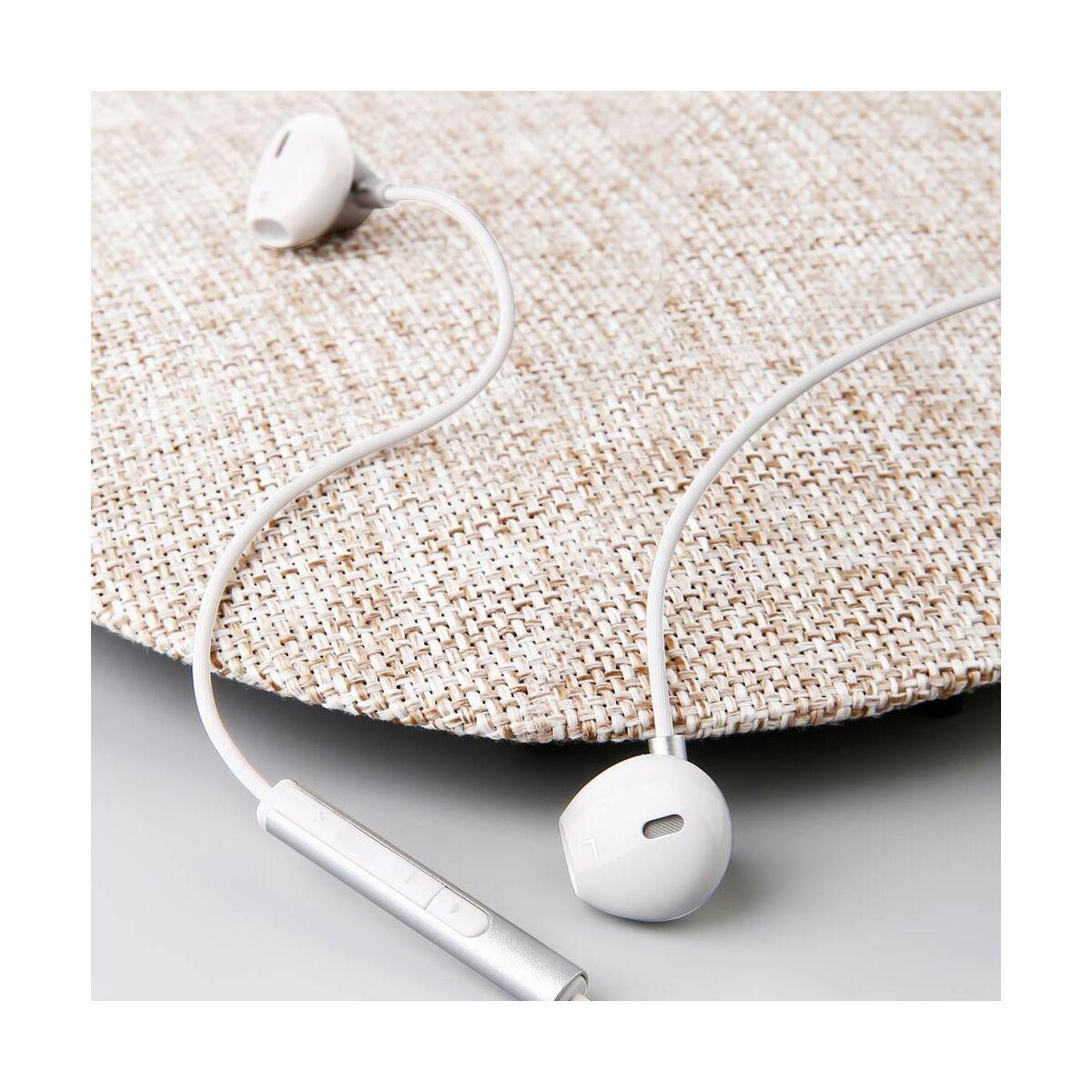 Baseus fülhallgató, Encok H06, lateral-in-ear, mini jack, vezetékes, ezüst (NGH06-0S)