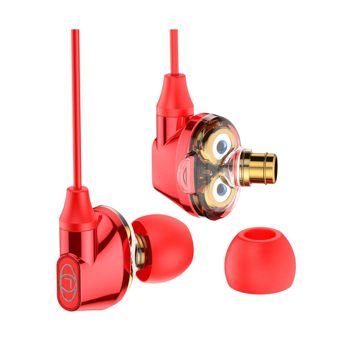 Baseus fülhallgató, Encok H10, Dual Moving-Coil vezetékes headset, vezérlővel, piros (NGH10-09)