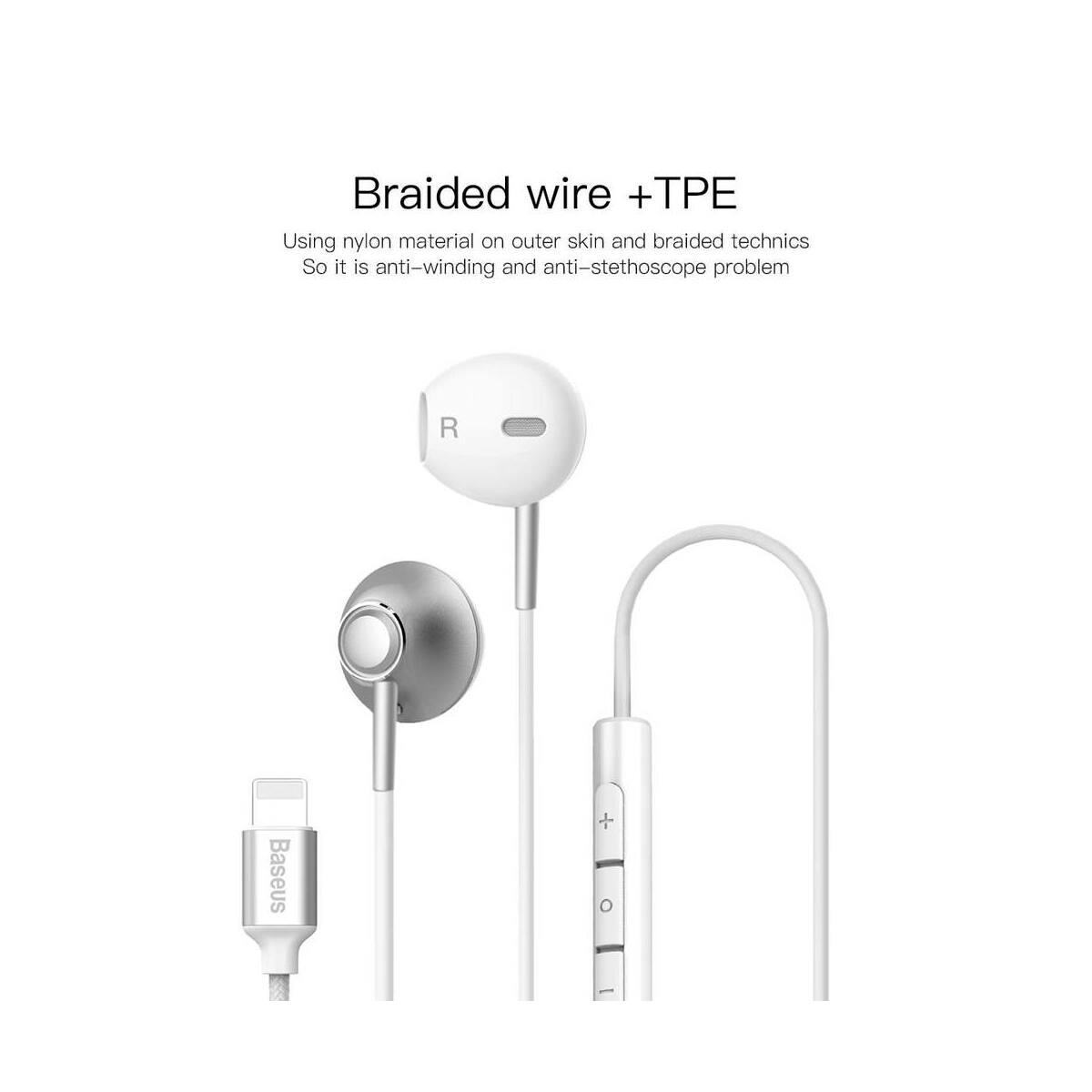 Baseus fülhallgató, Encok P06, Lightning Call Digital, vezetékes, ezüst (NGP06-0S)
