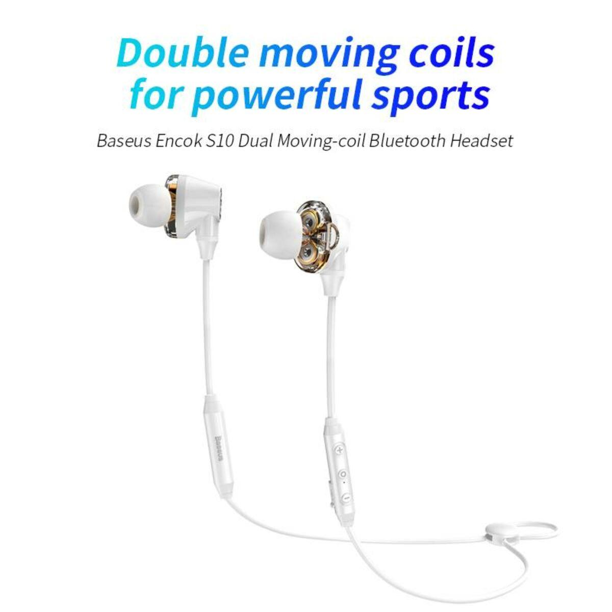 Baseus fülhallgató, Bluetooth Encok S10, Dual Moving-Coil vezeték nélküli headset, vezérlővel, fehér (NGS10-02)