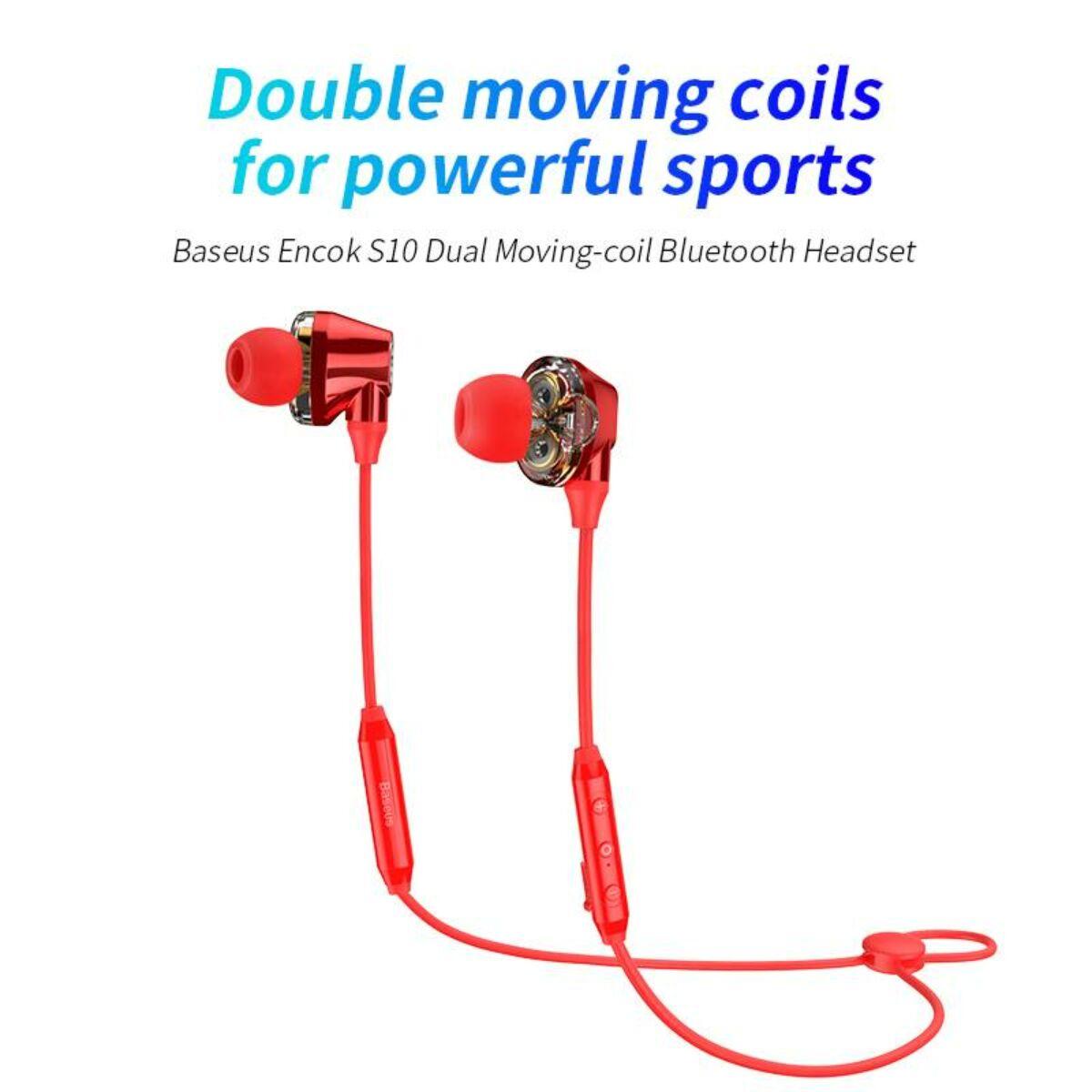 Baseus fülhallgató, Bluetooth Encok S10 Dual Moving-Coil vezeték nélküli headset, vezérlővel, piros (NGS10-09)