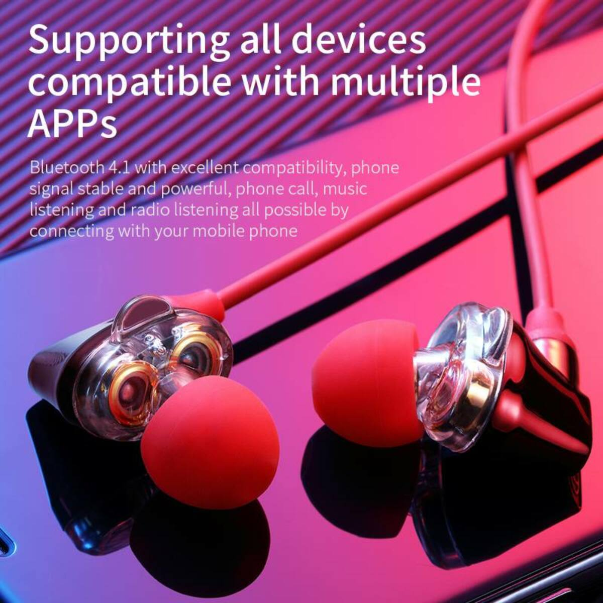 Baseus fülhallgató, Bluetooth Encok S10, Dual Moving-Coil vezeték nélküli headset, vezérlővel, piros (NGS10-09)